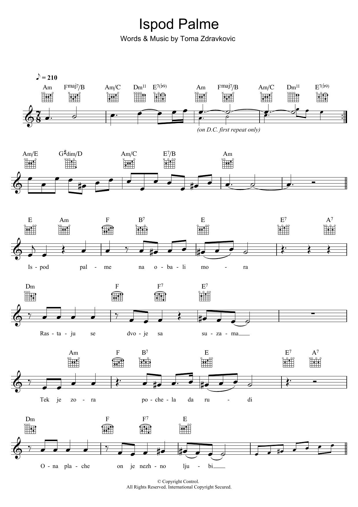 Ispod Palme Sheet Music