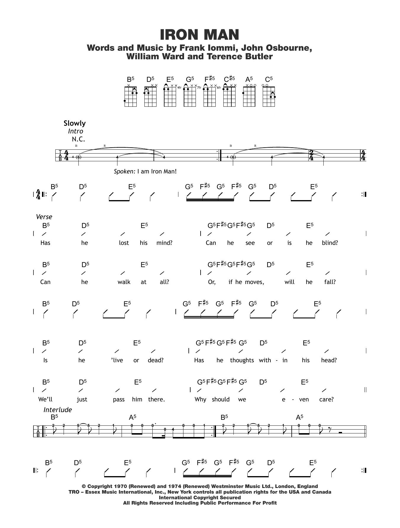 Iron Man Sheet Music