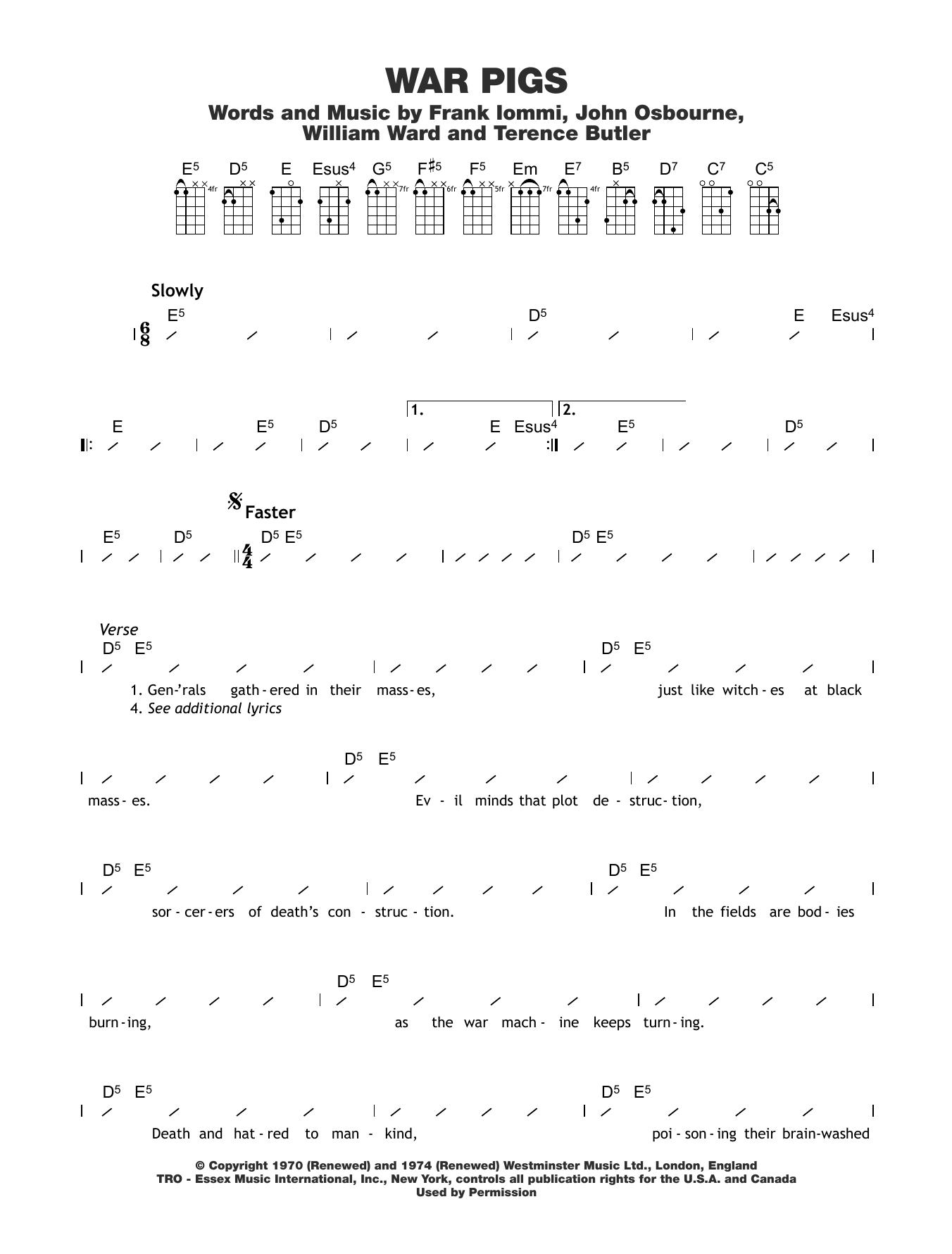 War Pigs Sheet Music