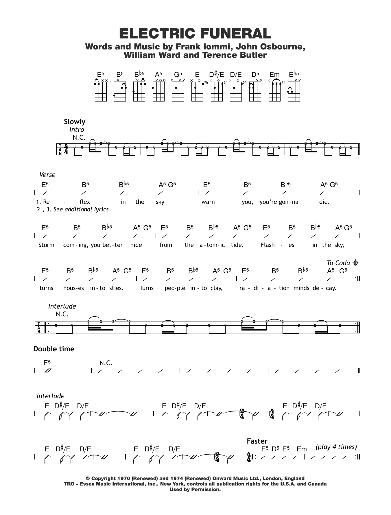 Electric Funeral Sheet Music