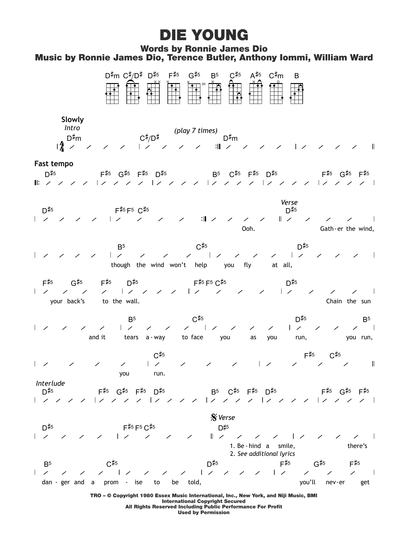 Die Young Sheet Music