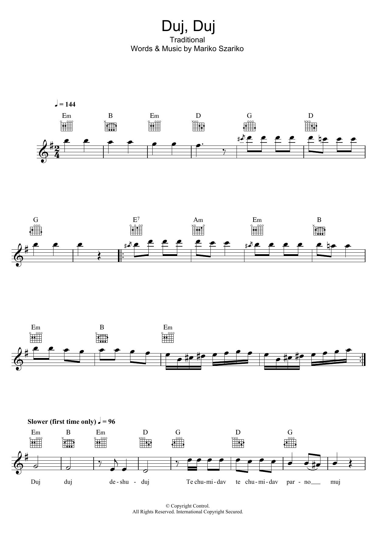 Duj, Duj (Szariko Mariko) Sheet Music