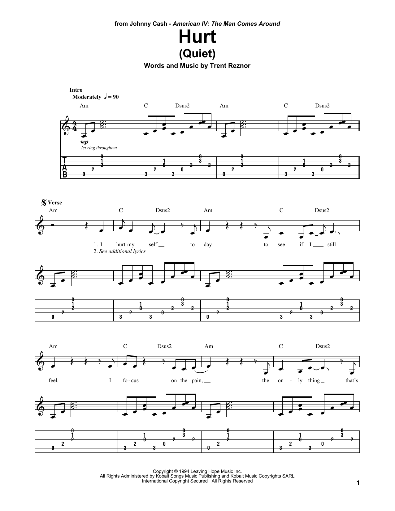 Hurt (Quiet) sheet music by Johnny Cash (Guitar Tab Play-Along – 171504)