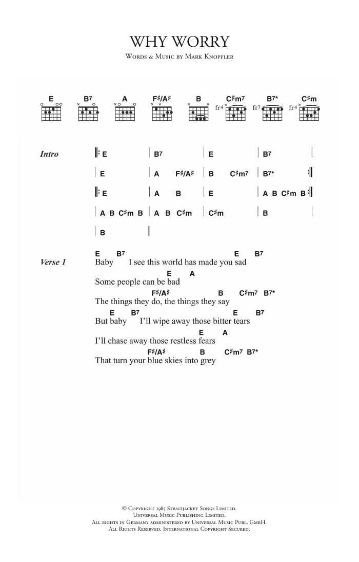 Why Worry Sheet Music
