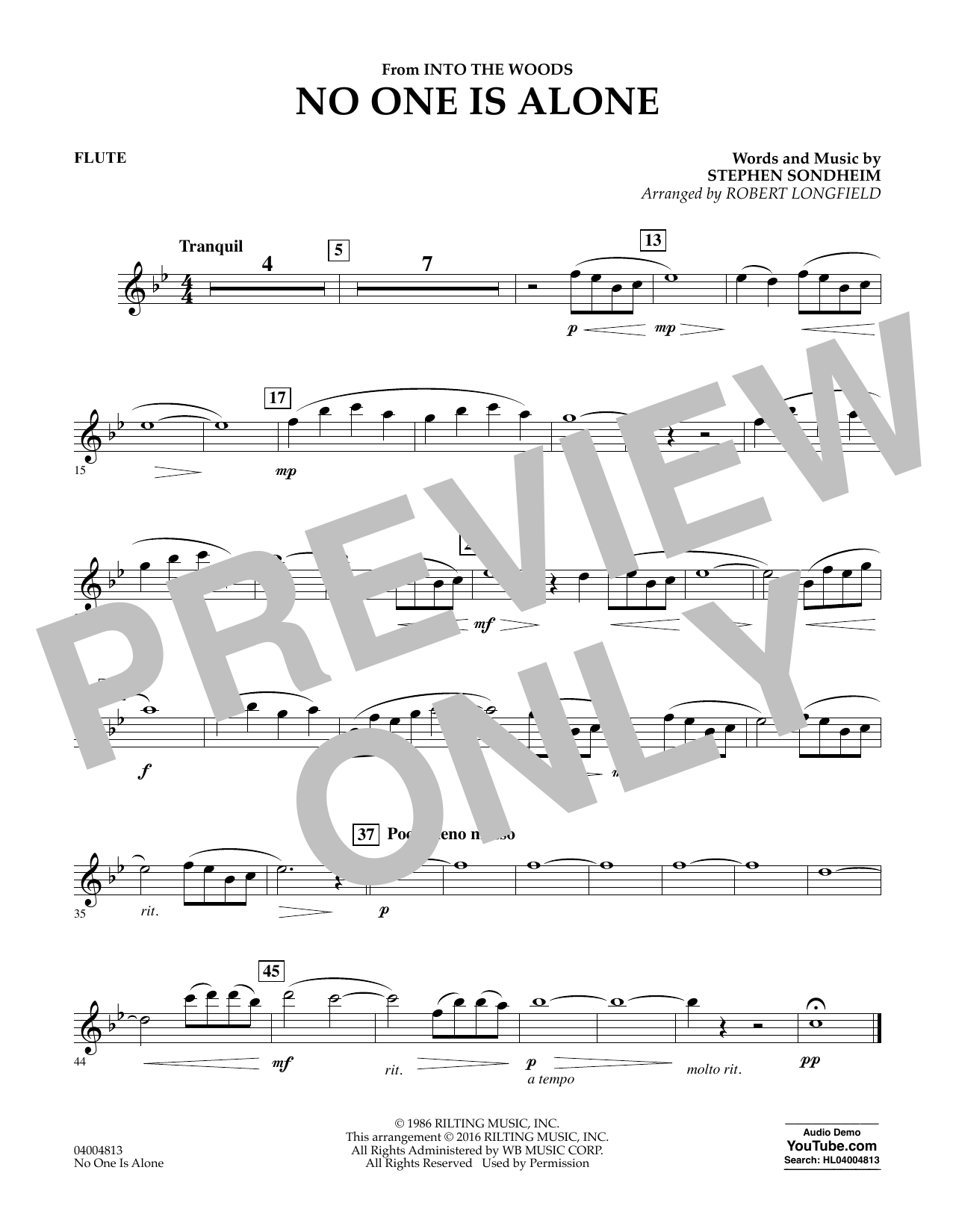 No One Is Alone - Flute (Concert Band)