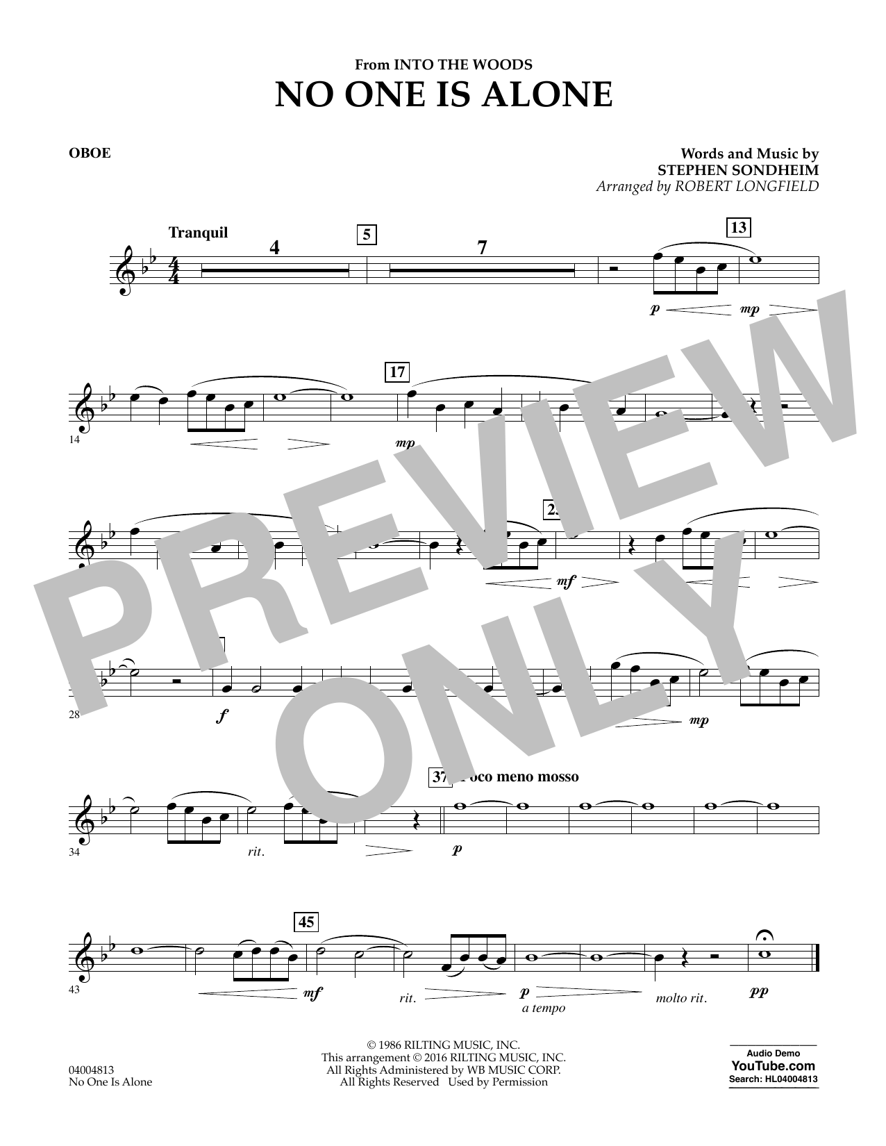 No One Is Alone - Oboe (Concert Band)