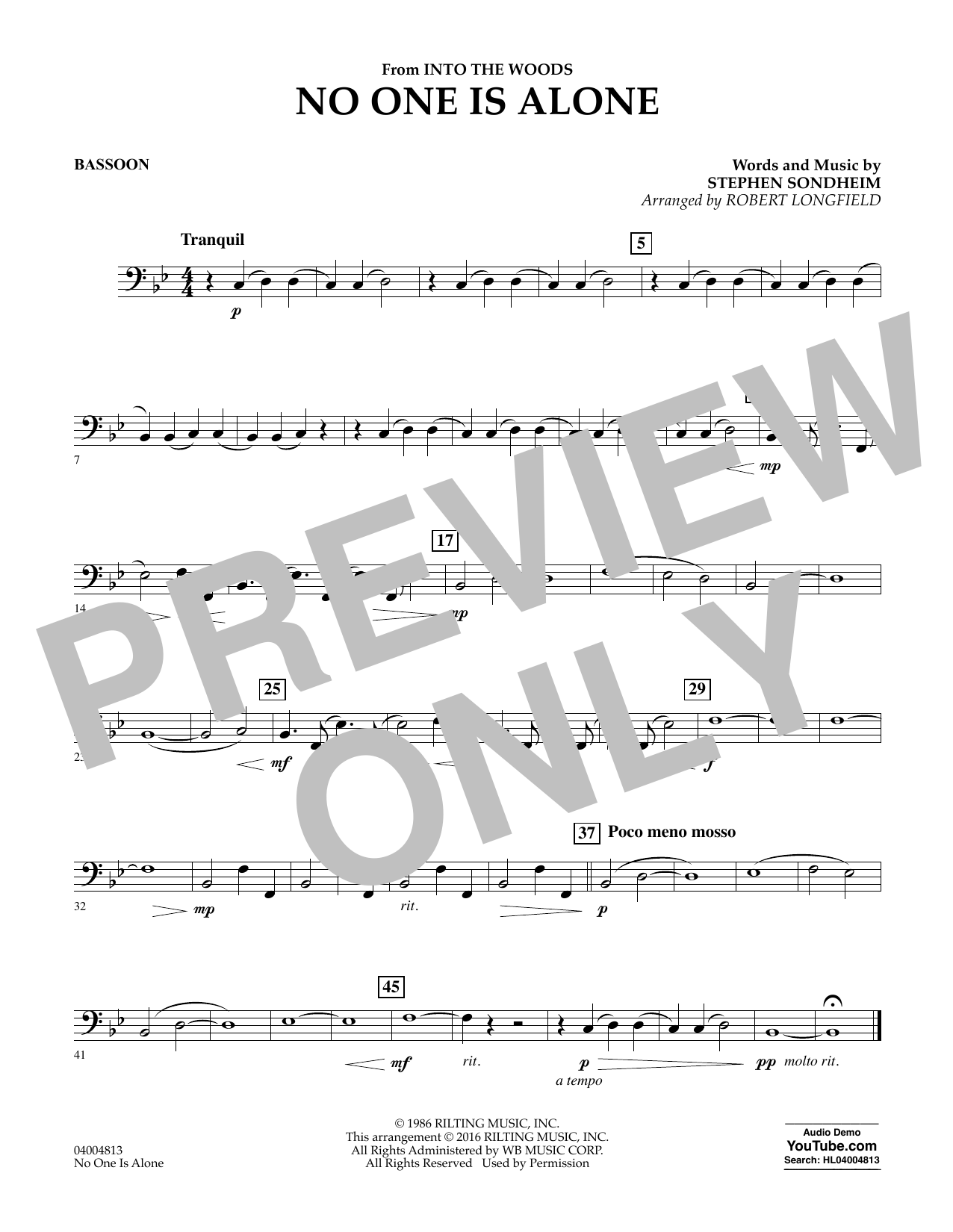 No One Is Alone - Bassoon (Concert Band)