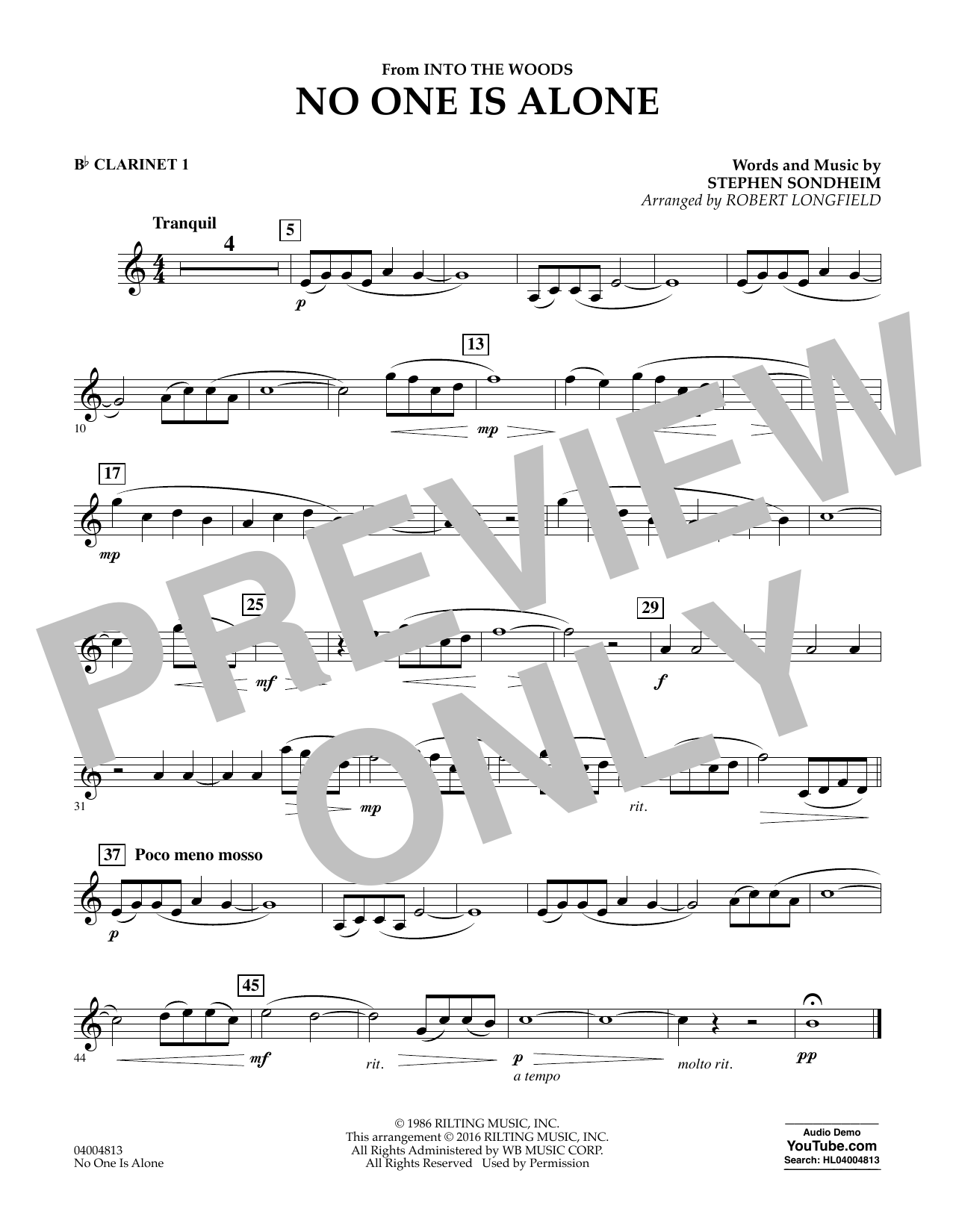 No One Is Alone - Bb Clarinet 1 (Concert Band)