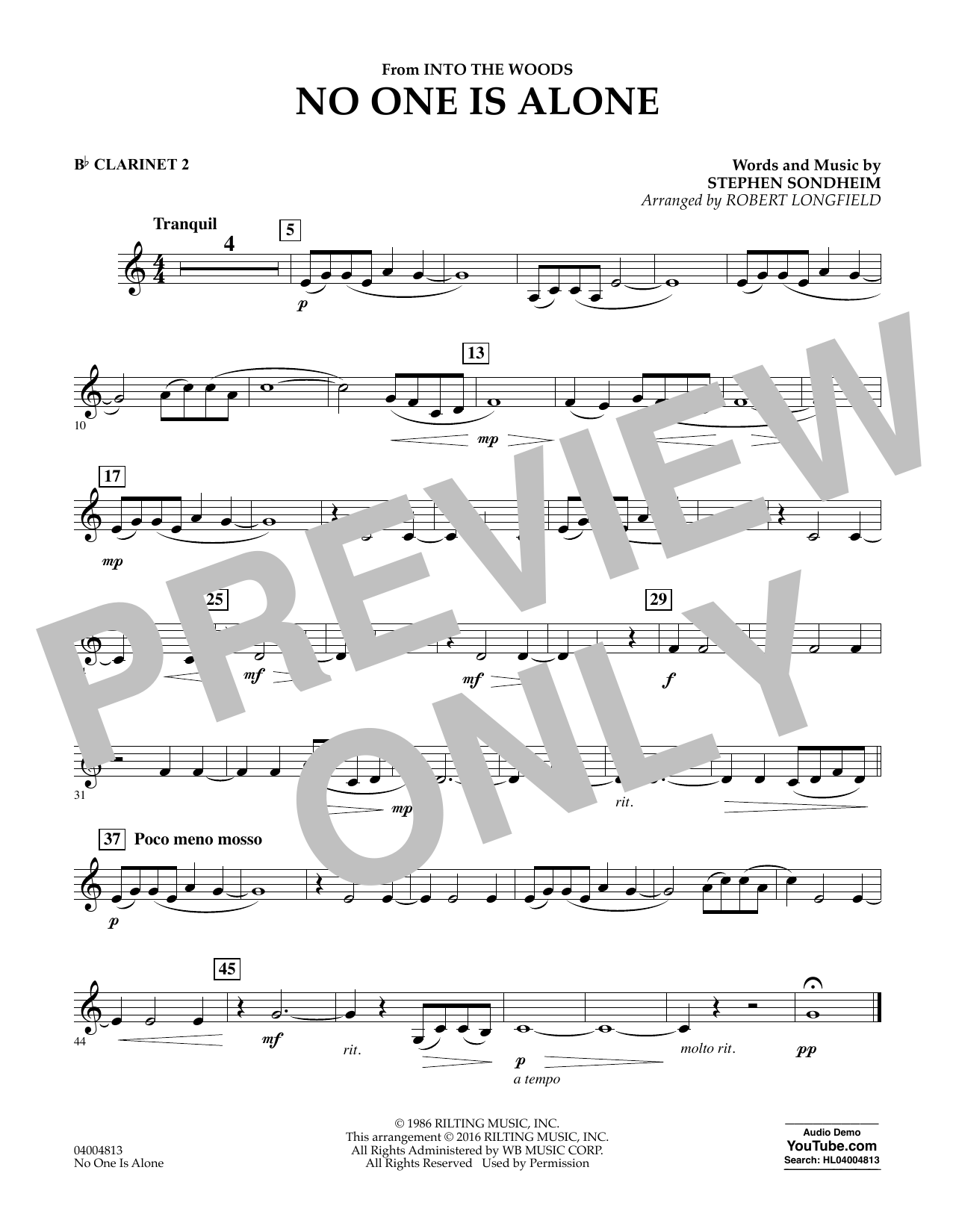 No One Is Alone - Bb Clarinet 2 (Concert Band)