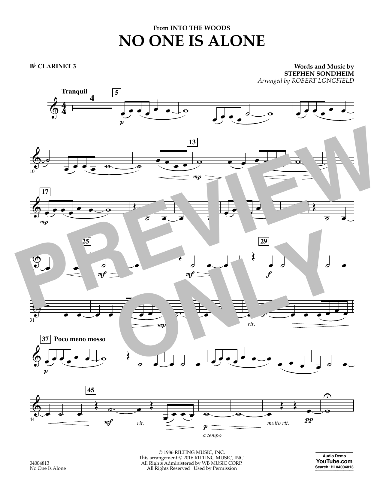 No One Is Alone - Bb Clarinet 3 (Concert Band)