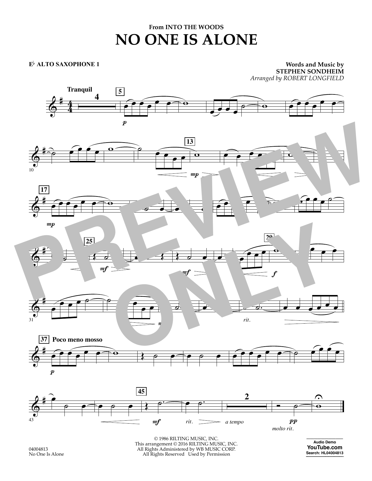 No One Is Alone - Eb Alto Saxophone 1 (Concert Band)