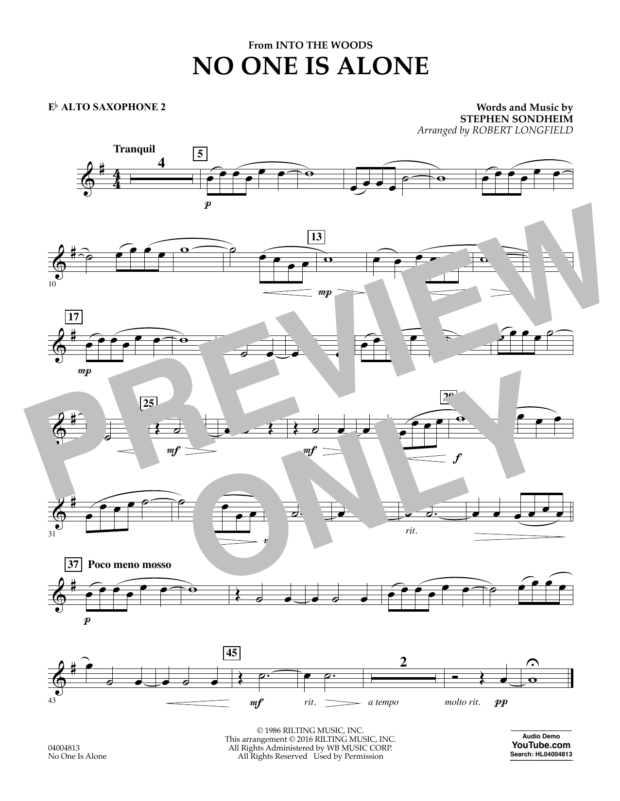 No One Is Alone - Eb Alto Saxophone 2 (Concert Band)