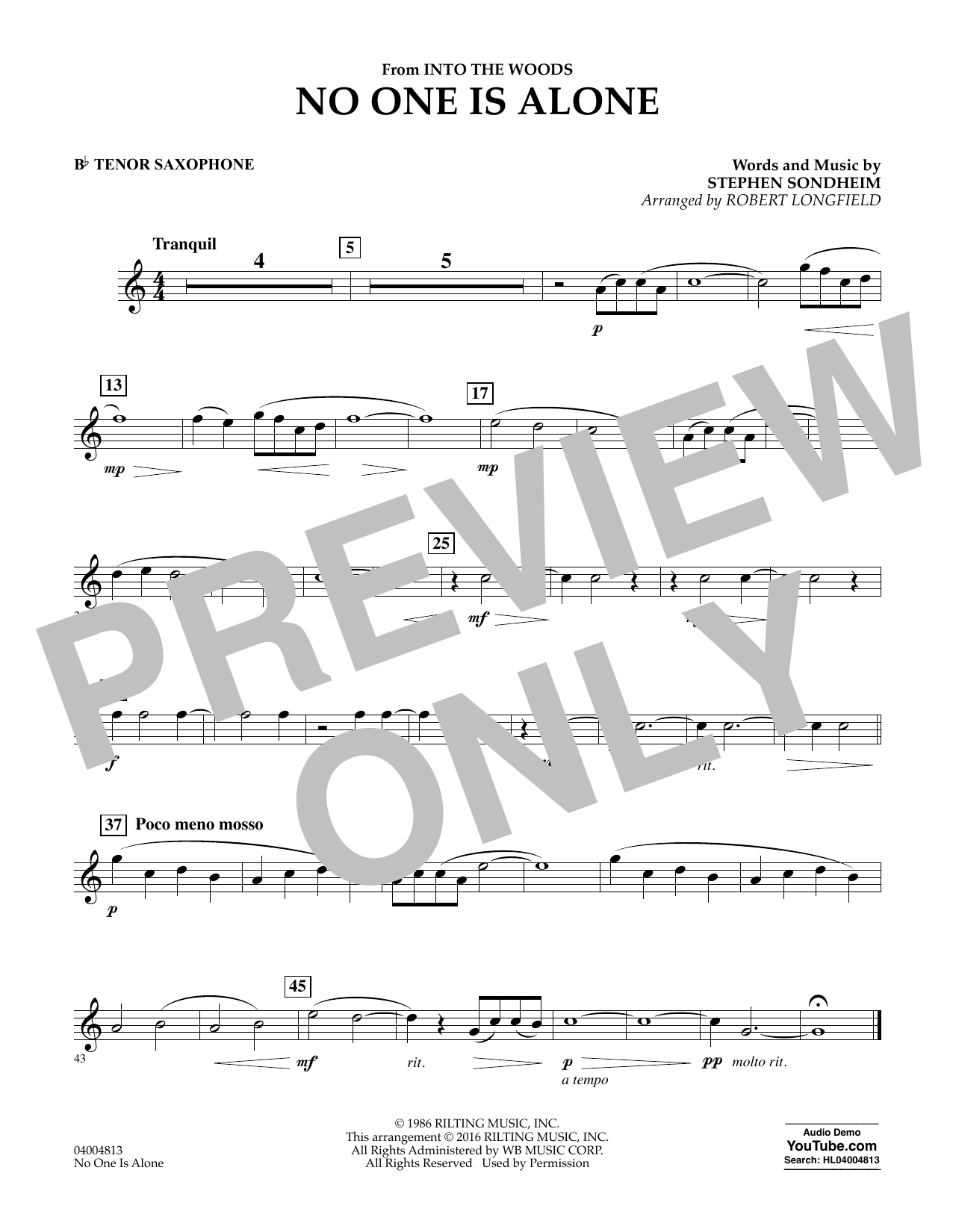 No One Is Alone - Bb Tenor Saxophone (Concert Band)
