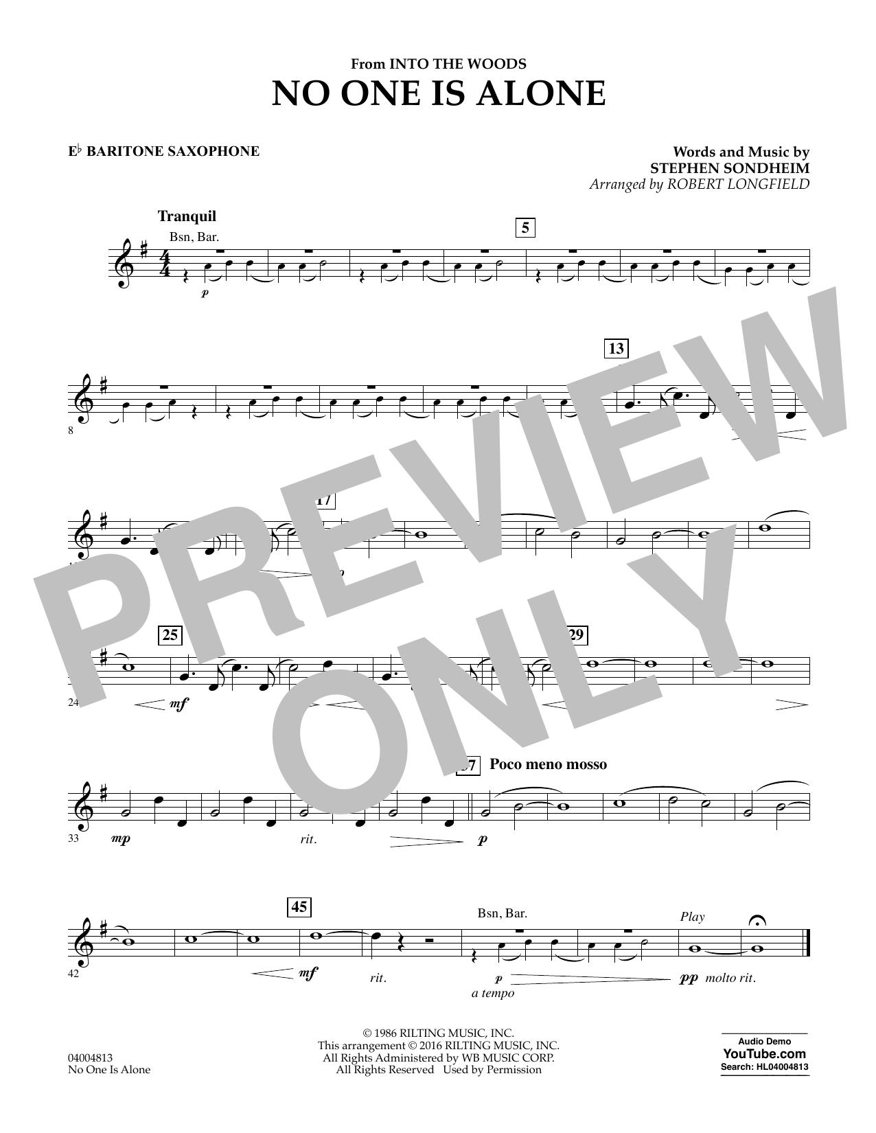 No One Is Alone - Eb Baritone Saxophone (Concert Band)