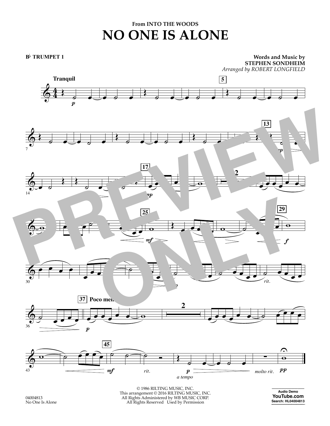 No One Is Alone - Bb Trumpet 1 (Concert Band)