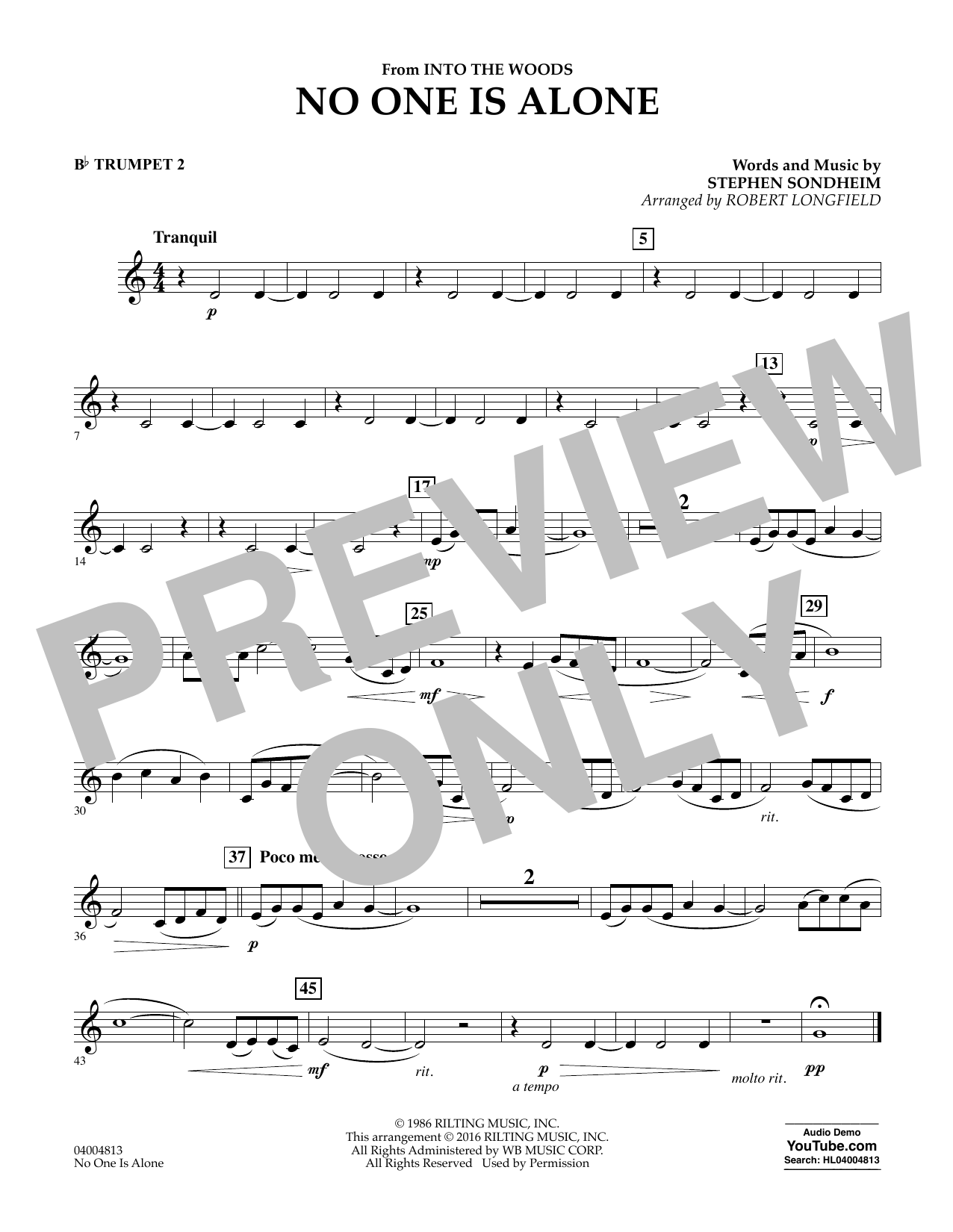 No One Is Alone - Bb Trumpet 2 (Concert Band)