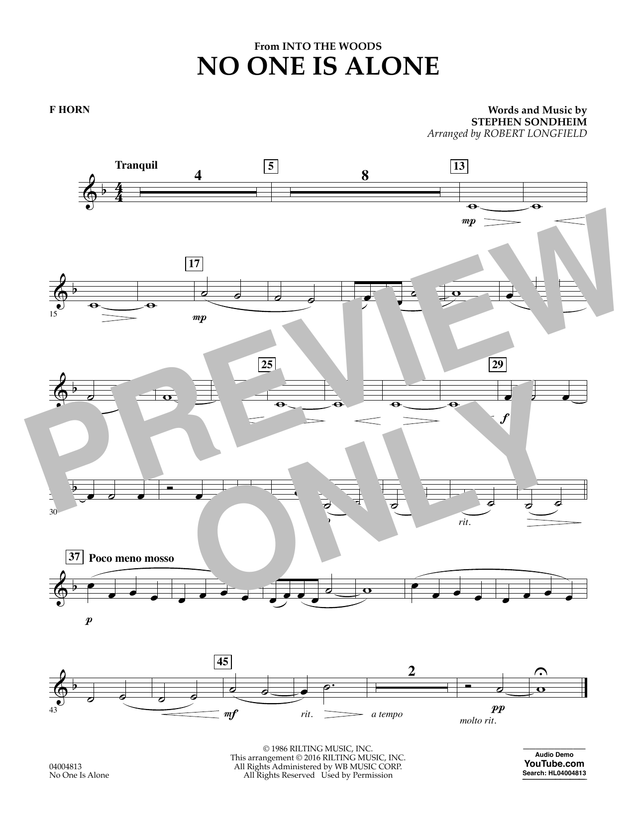 No One Is Alone - F Horn (Concert Band)