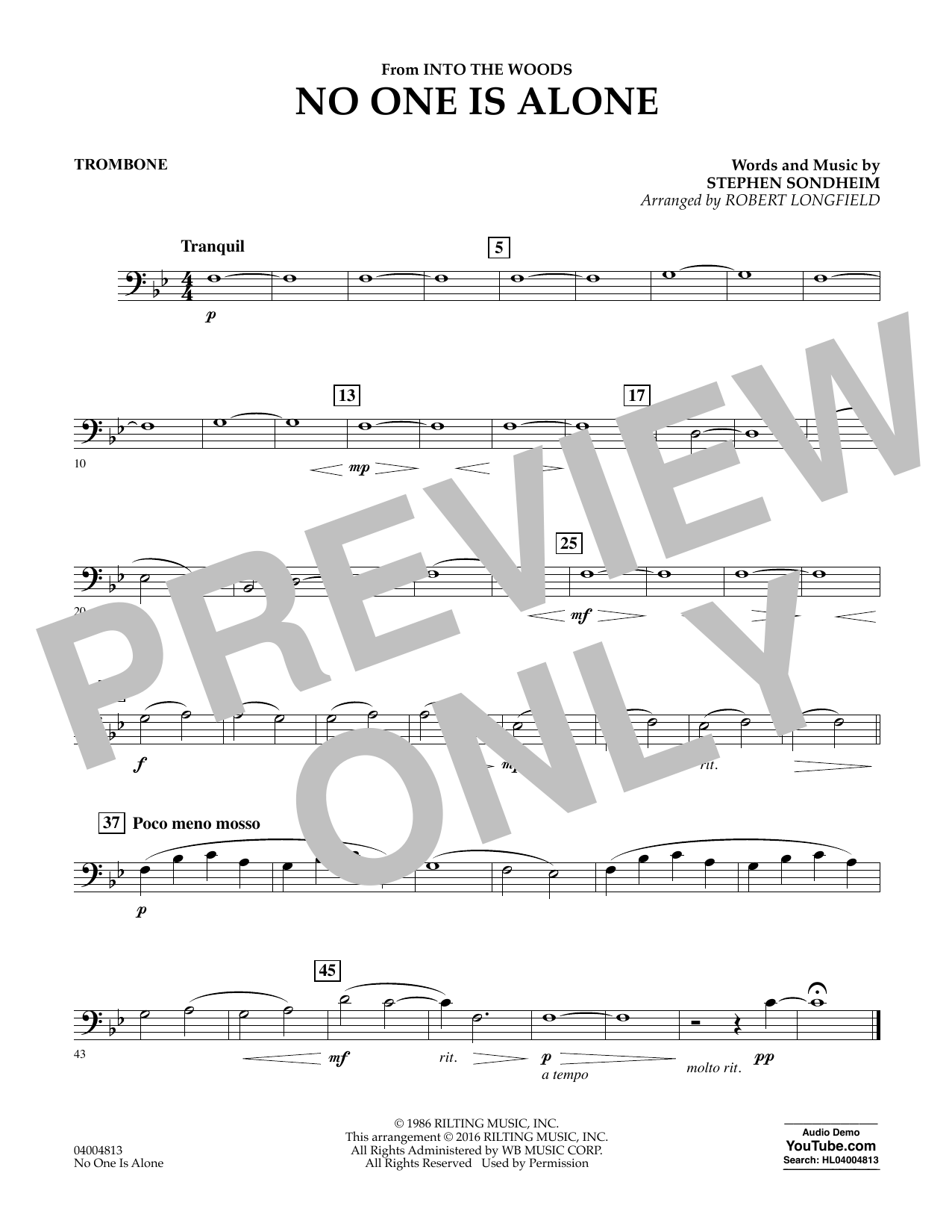 No One Is Alone - Trombone (Concert Band)