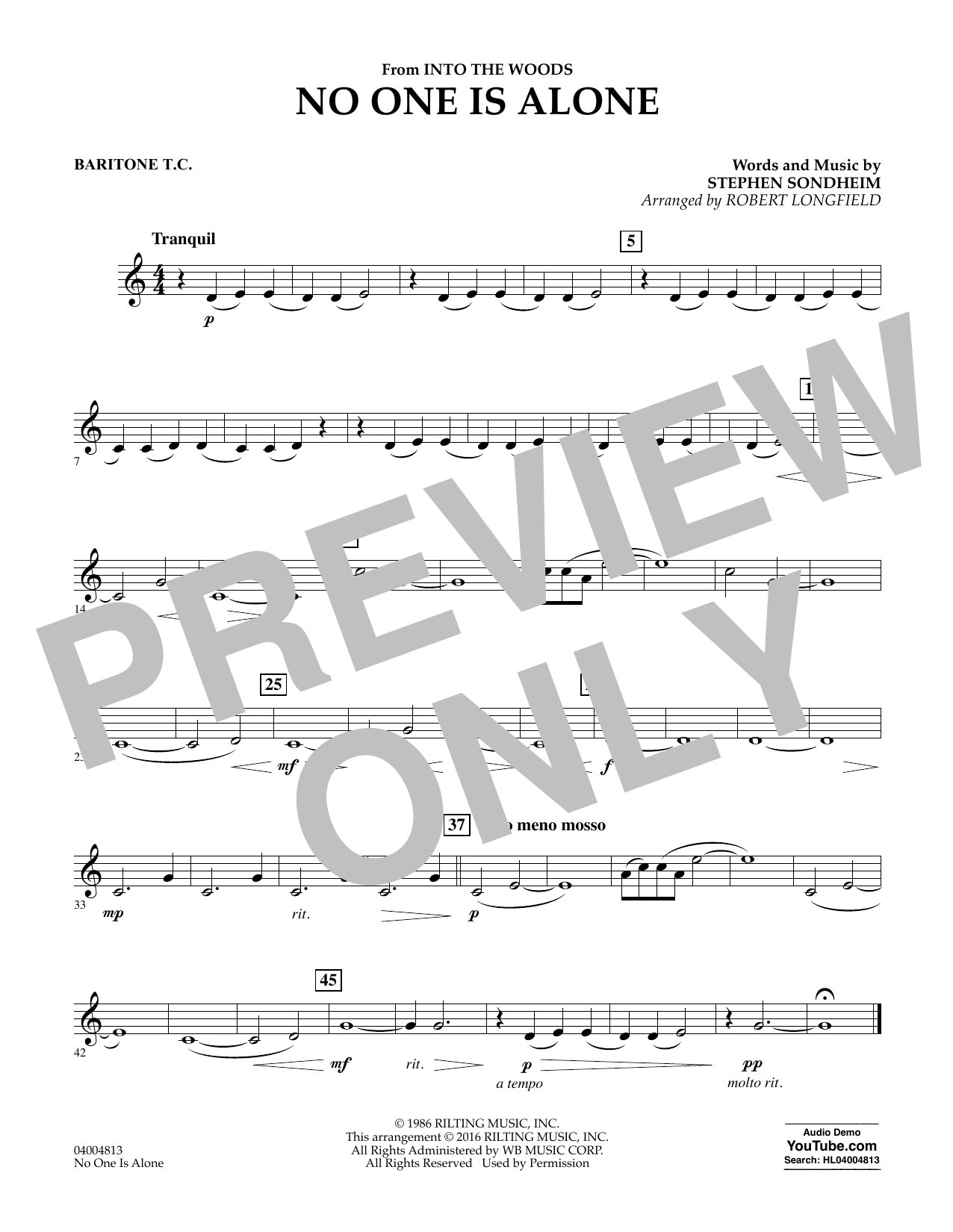 No One Is Alone - Baritone T.C. (Concert Band)