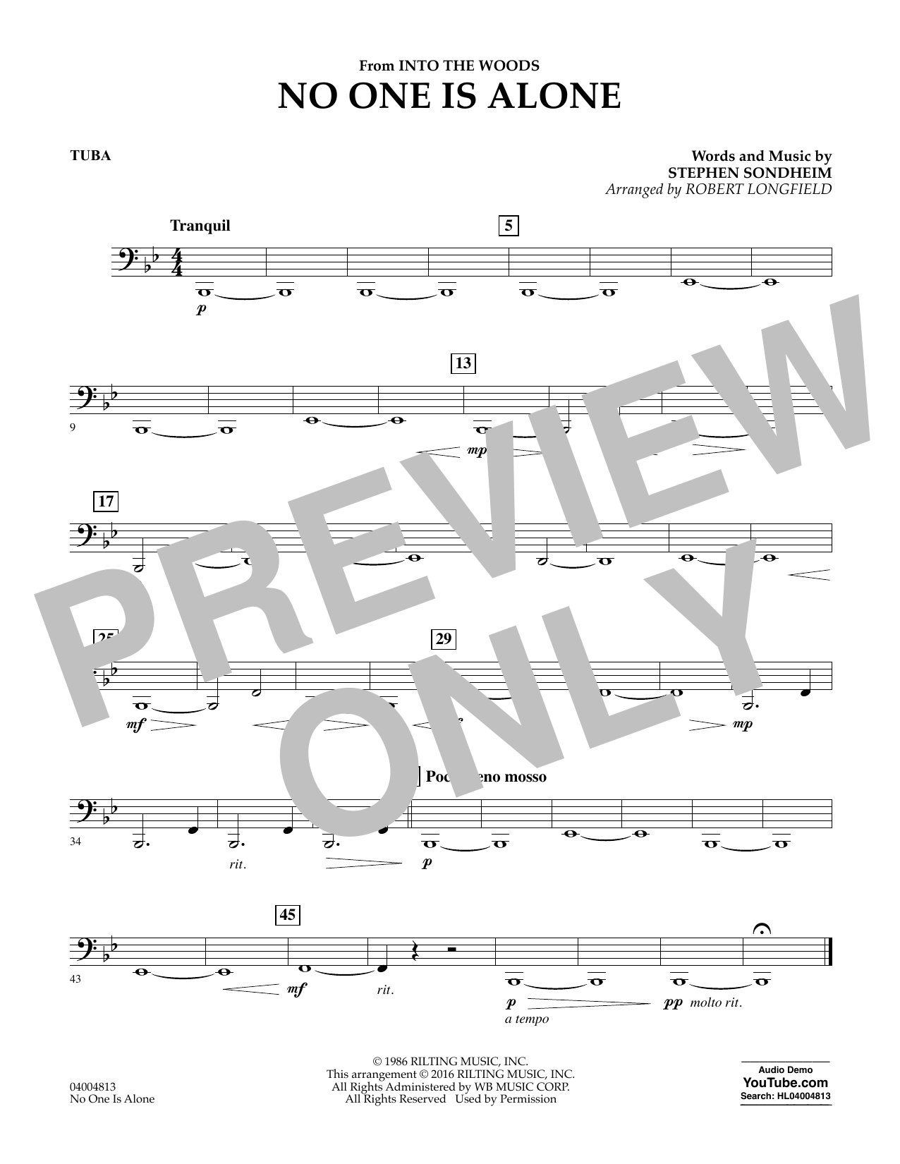 No One Is Alone - Tuba (Concert Band)