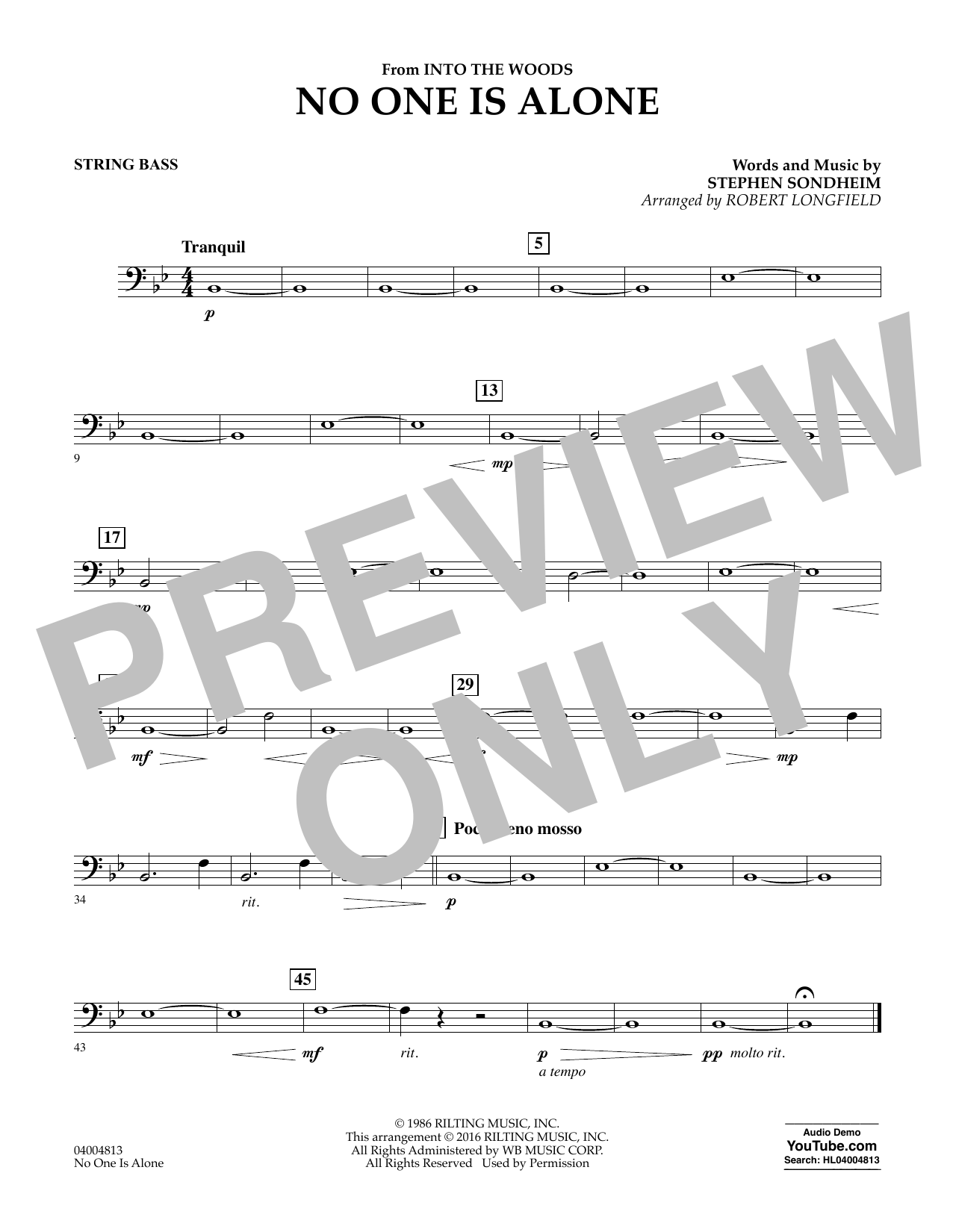 No One Is Alone - Bass (Concert Band)