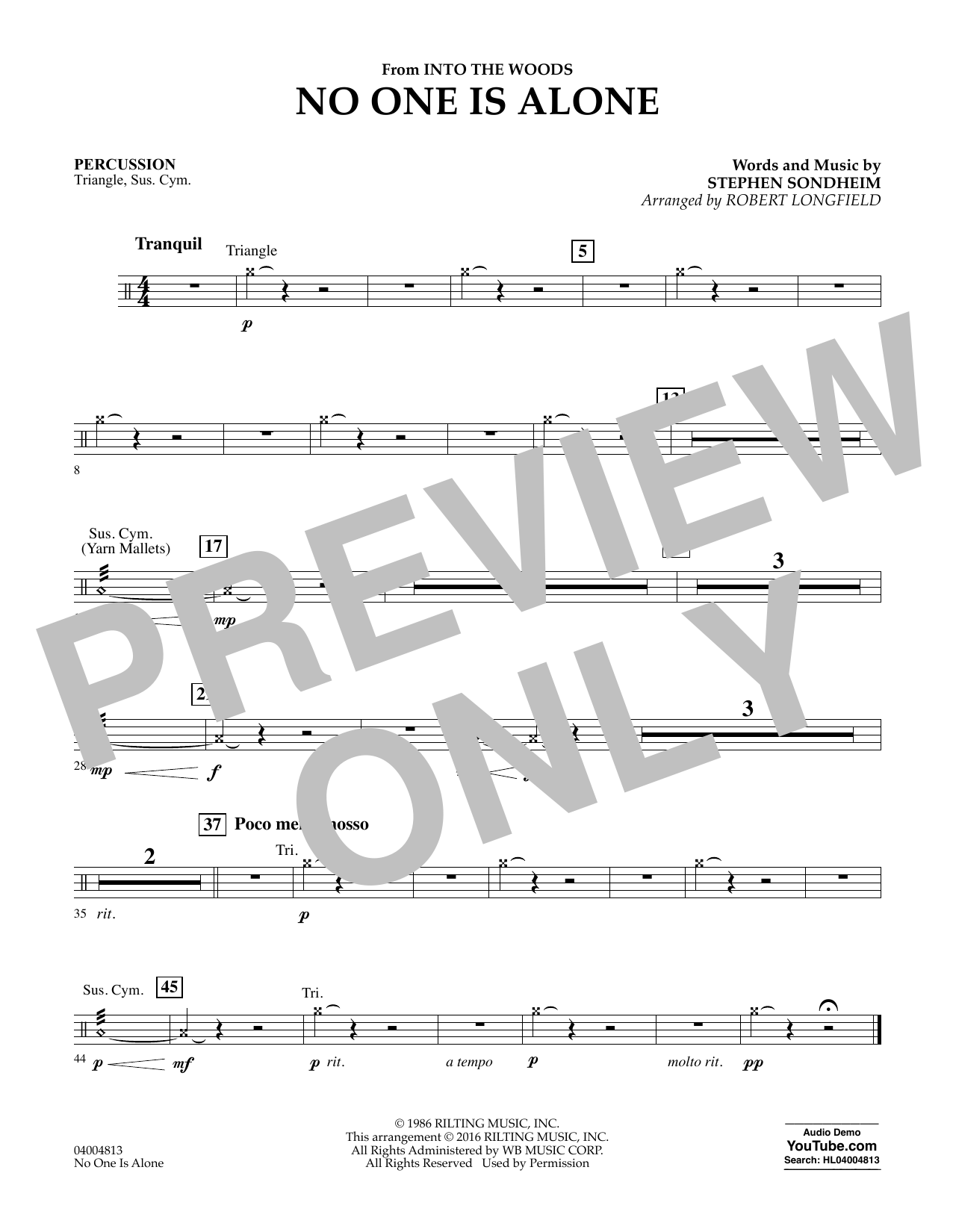 No One Is Alone - Percussion (Concert Band)