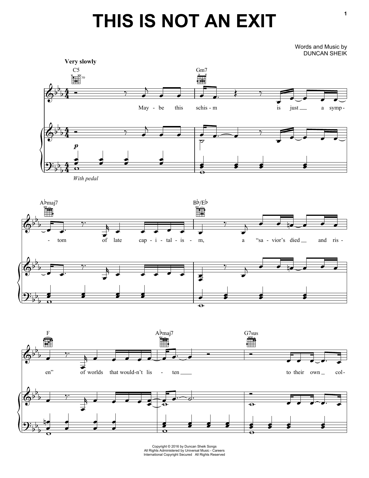 This Is Not An Exit (Piano, Vocal & Guitar (Right-Hand Melody))