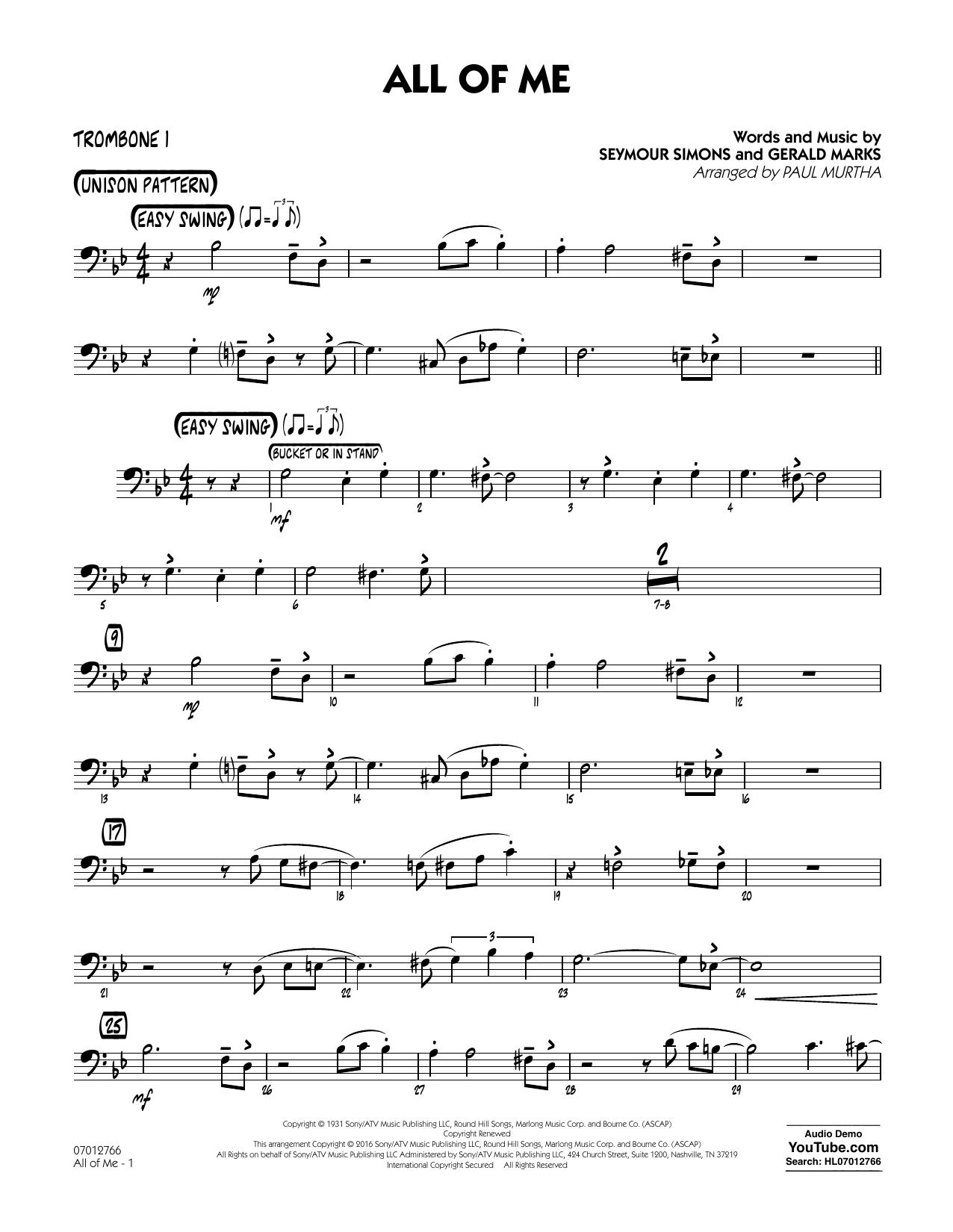 All of Me - Trombone 1 (Jazz Ensemble)