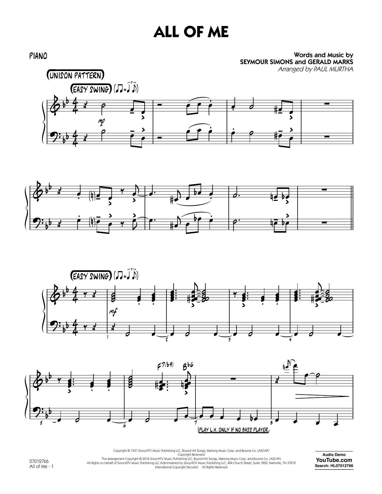 All of Me - Piano (Jazz Ensemble)