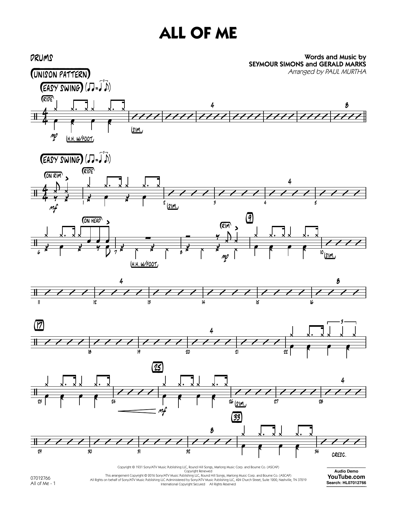 All of Me - Drums (Jazz Ensemble)