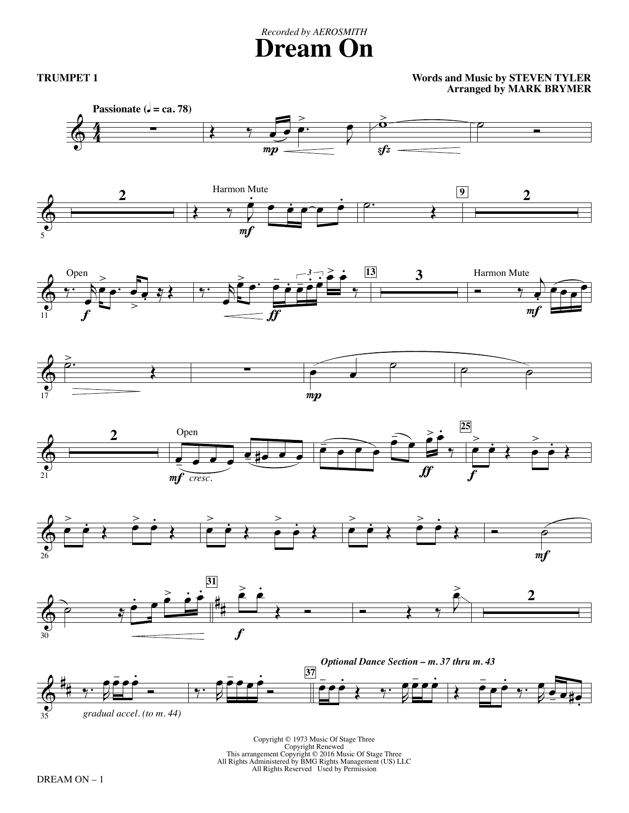 Dream On (complete set of parts) sheet music for orchestra/band by Steven Tyler, Aerosmith and Mark Brymer. Score Image Preview.