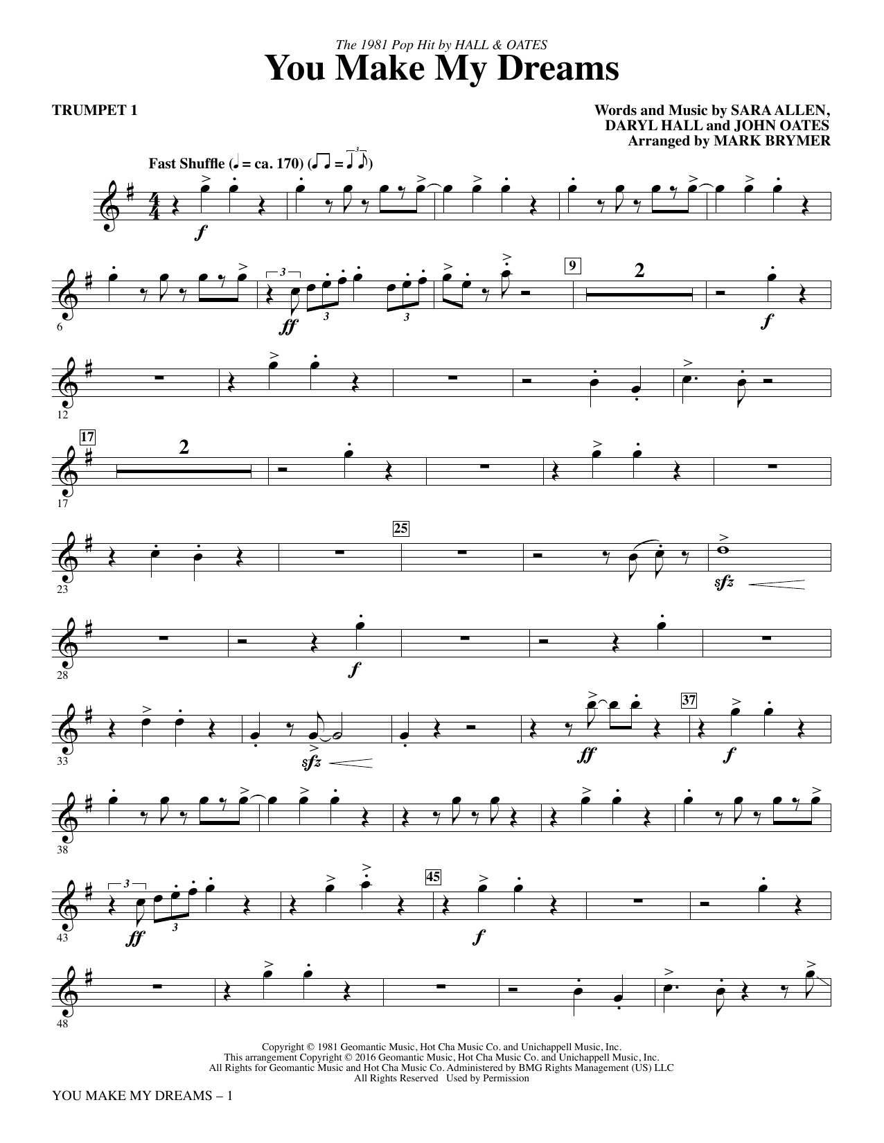 You Make My Dreams (complete set of parts) sheet music for orchestra/band by Sara Allen, Daryl Hall, John Oates and Mark Brymer. Score Image Preview.
