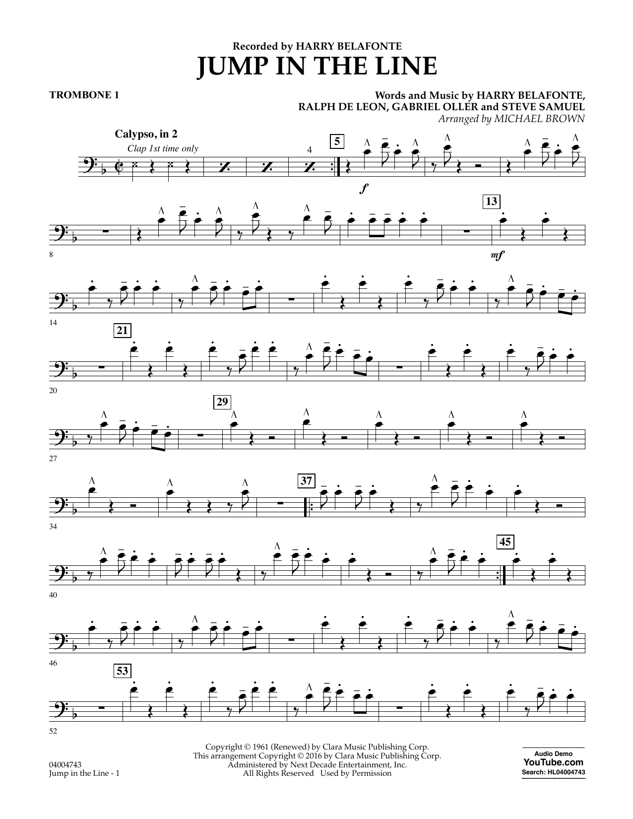 Jump in the Line - Trombone 1 (Concert Band)