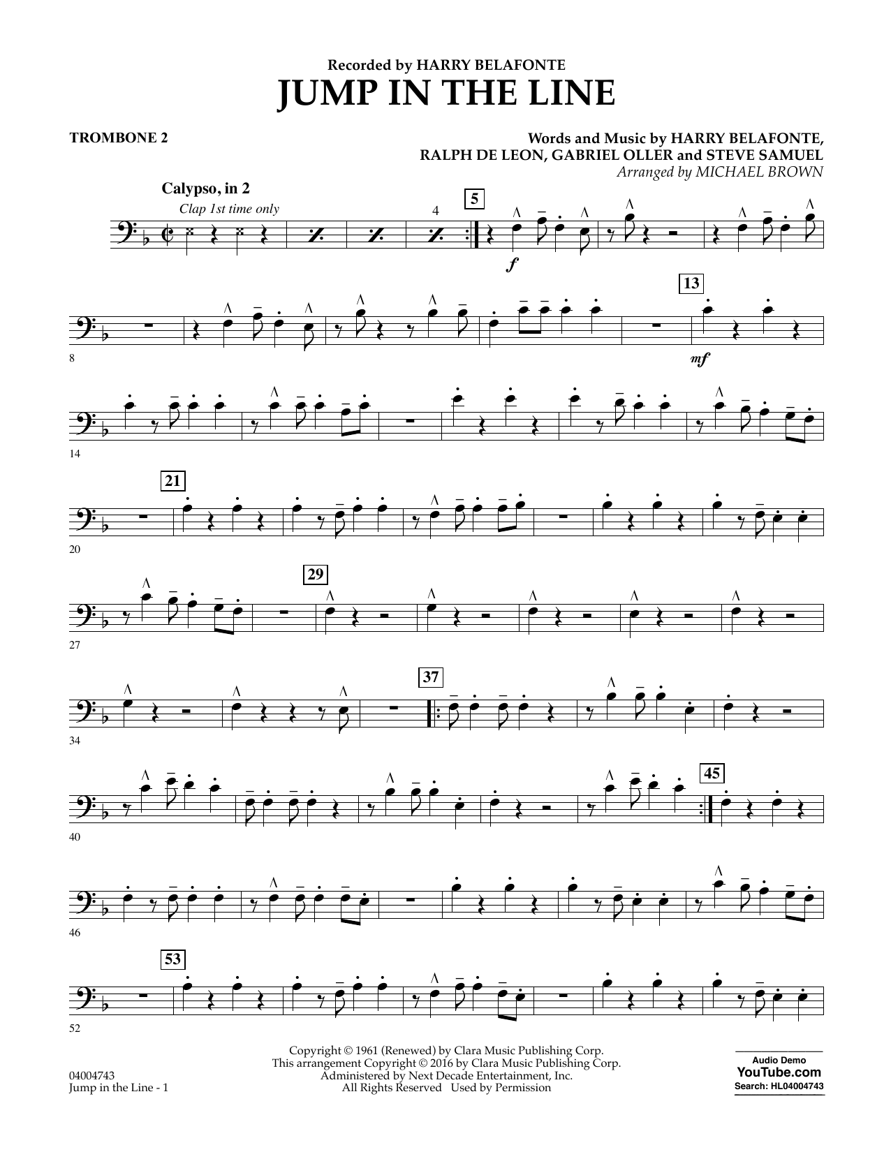 Jump In The Line Trombone 2 Sheet Music Michael Brown Concert Band