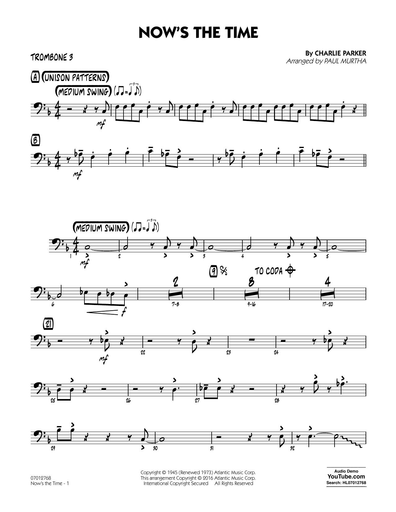 Now's the Time - Trombone 3 (Jazz Ensemble)