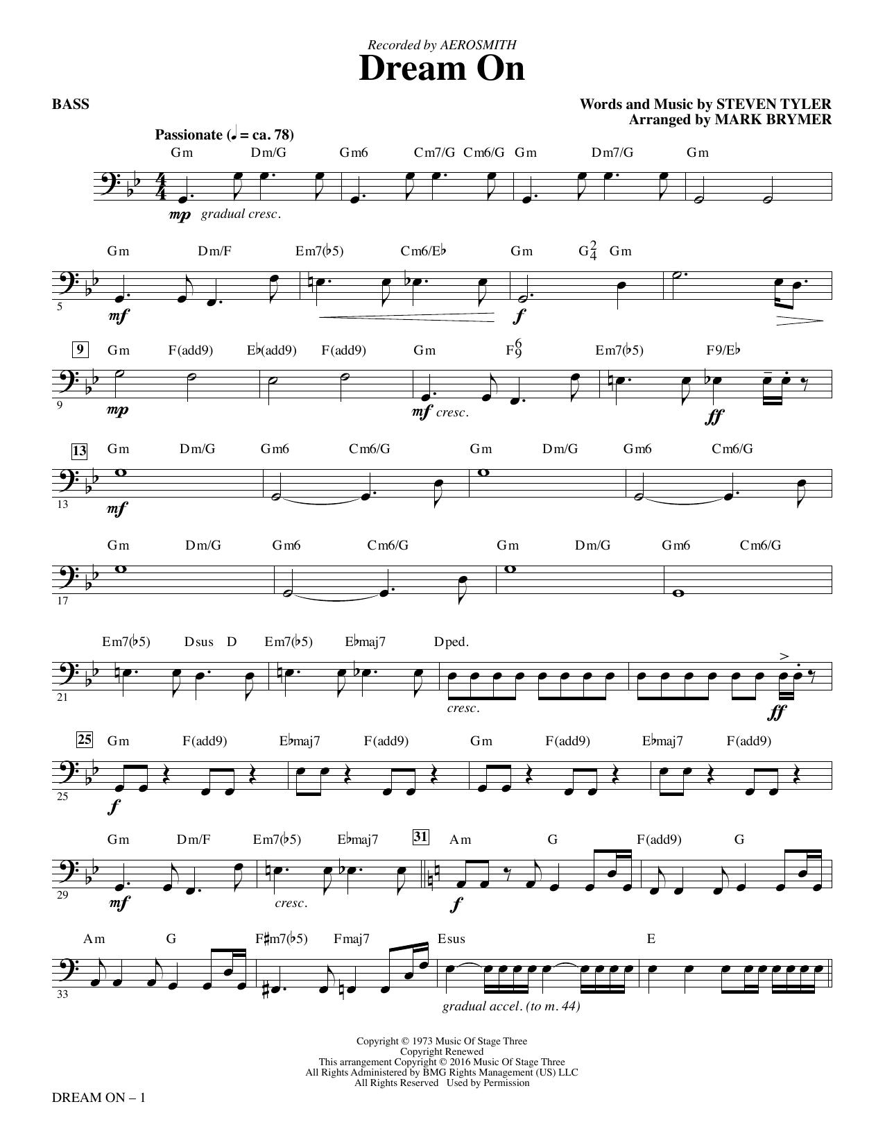 Dream On (arr. Mark Brymer) - Bass (Choir Instrumental Pak)