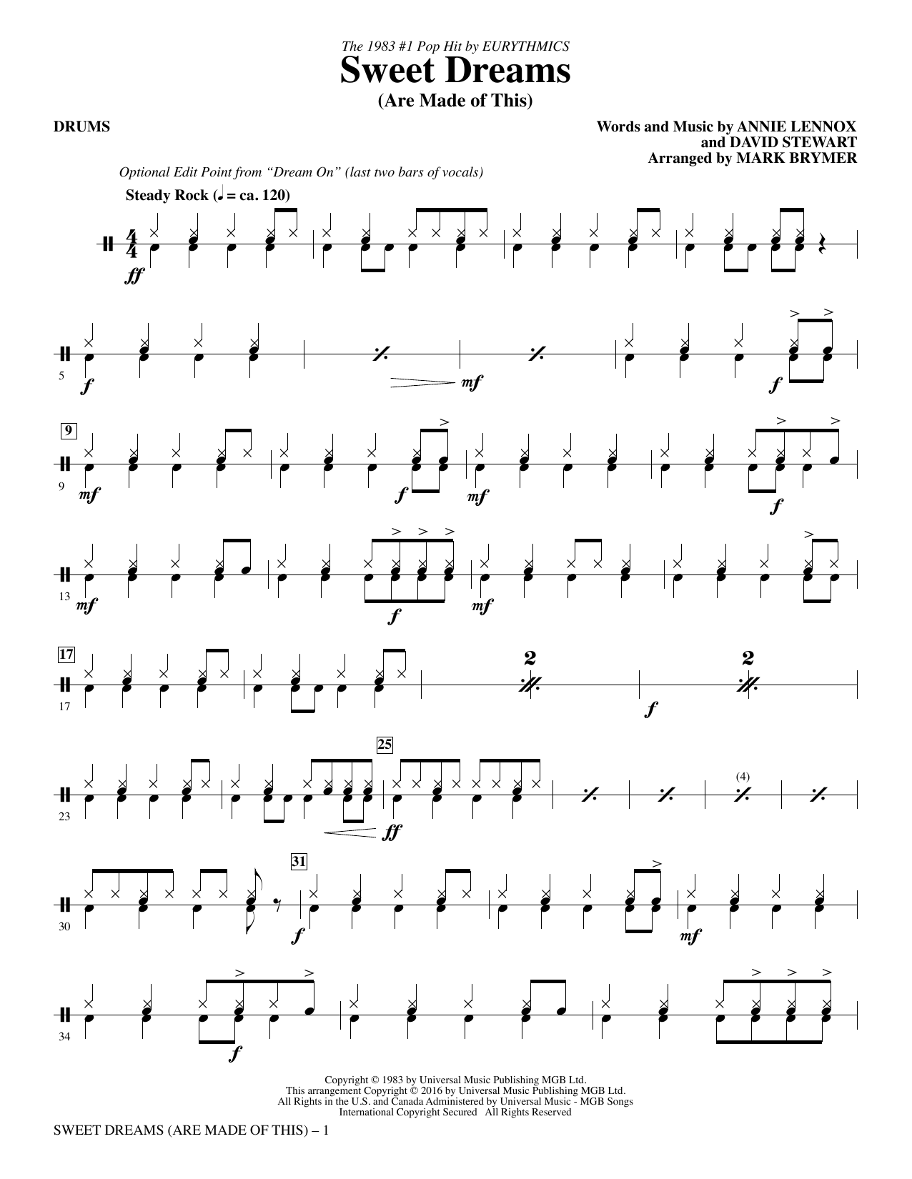 Sweet Dreams (Are Made of This) - Drums Sheet Music