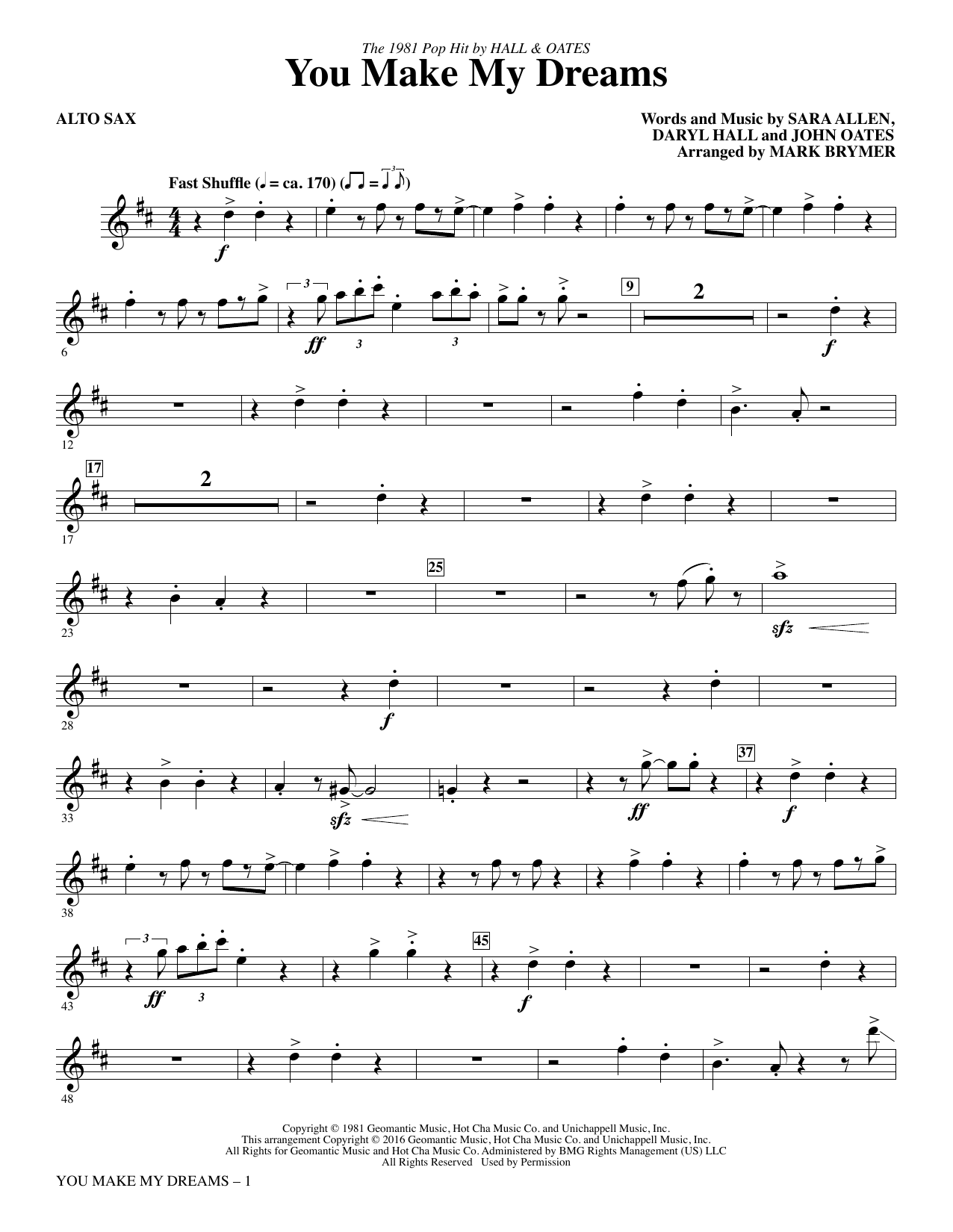 You Make My Dreams - Alto Sax Sheet Music