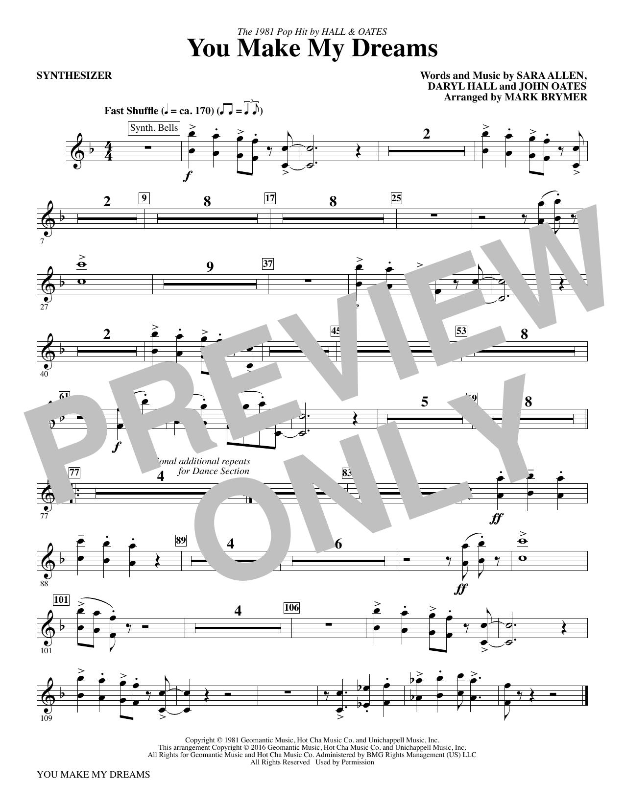 You Make My Dreams - Synthesizer Sheet Music