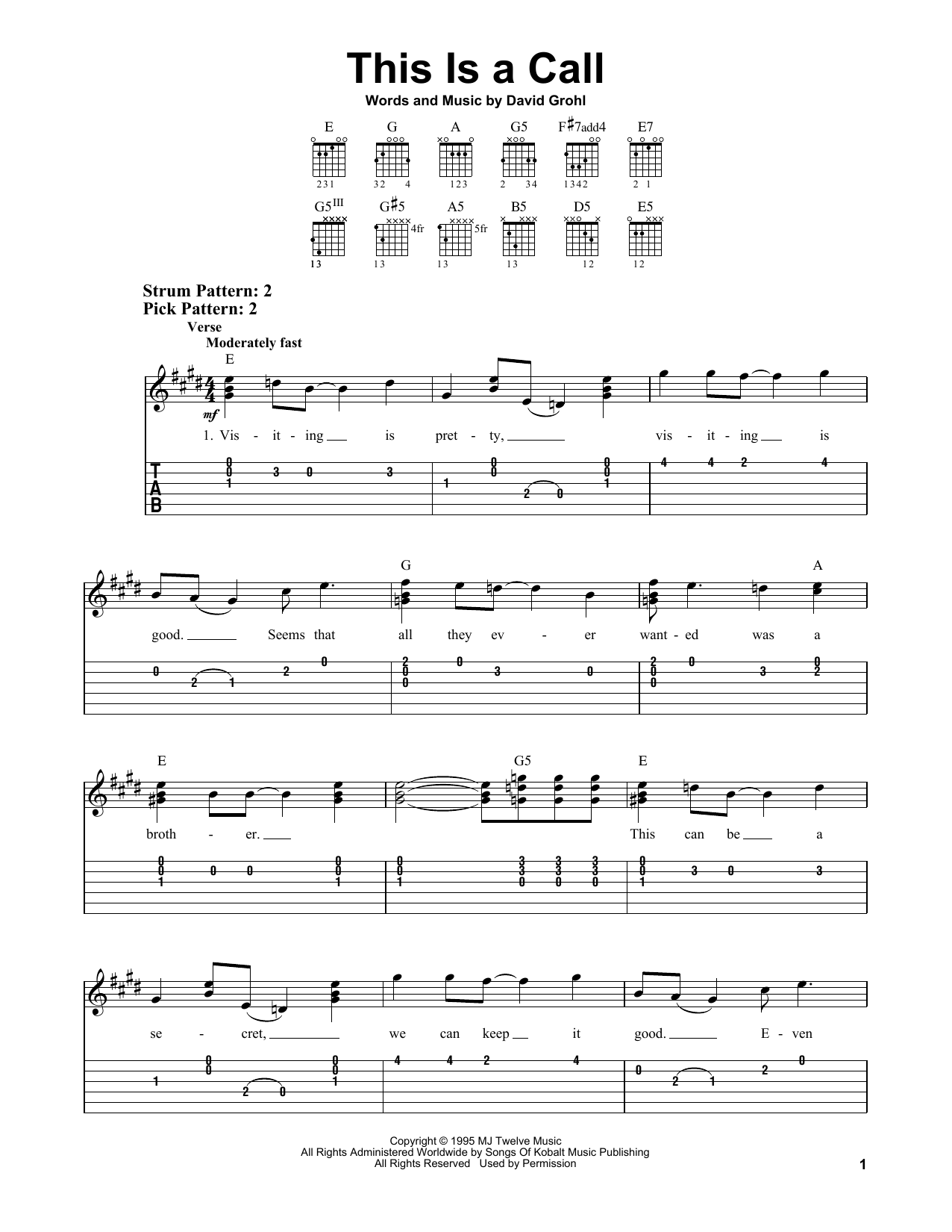 Tablature guitare This Is A Call de Foo Fighters - Tablature guitare facile