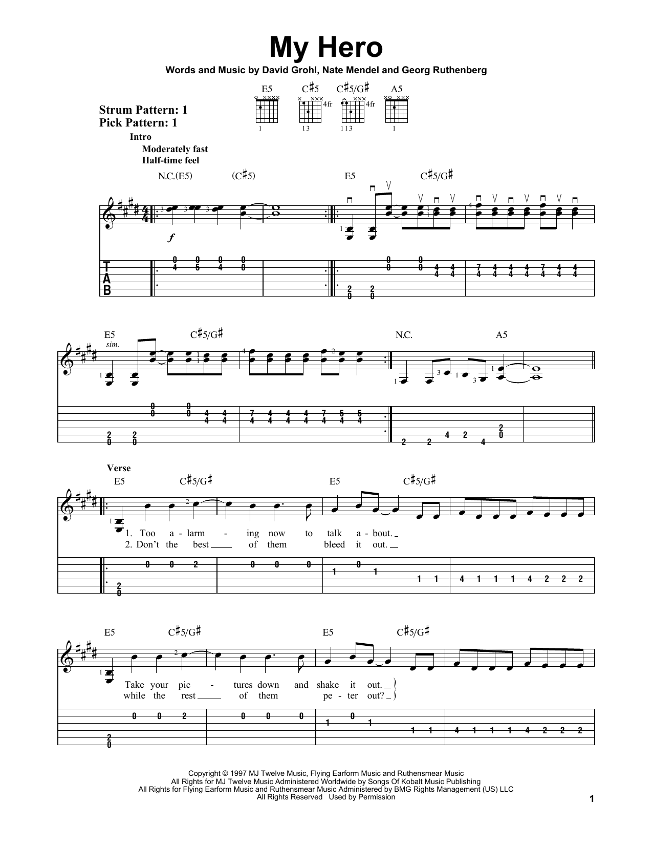Tablature guitare My Hero de Foo Fighters - Tablature guitare facile