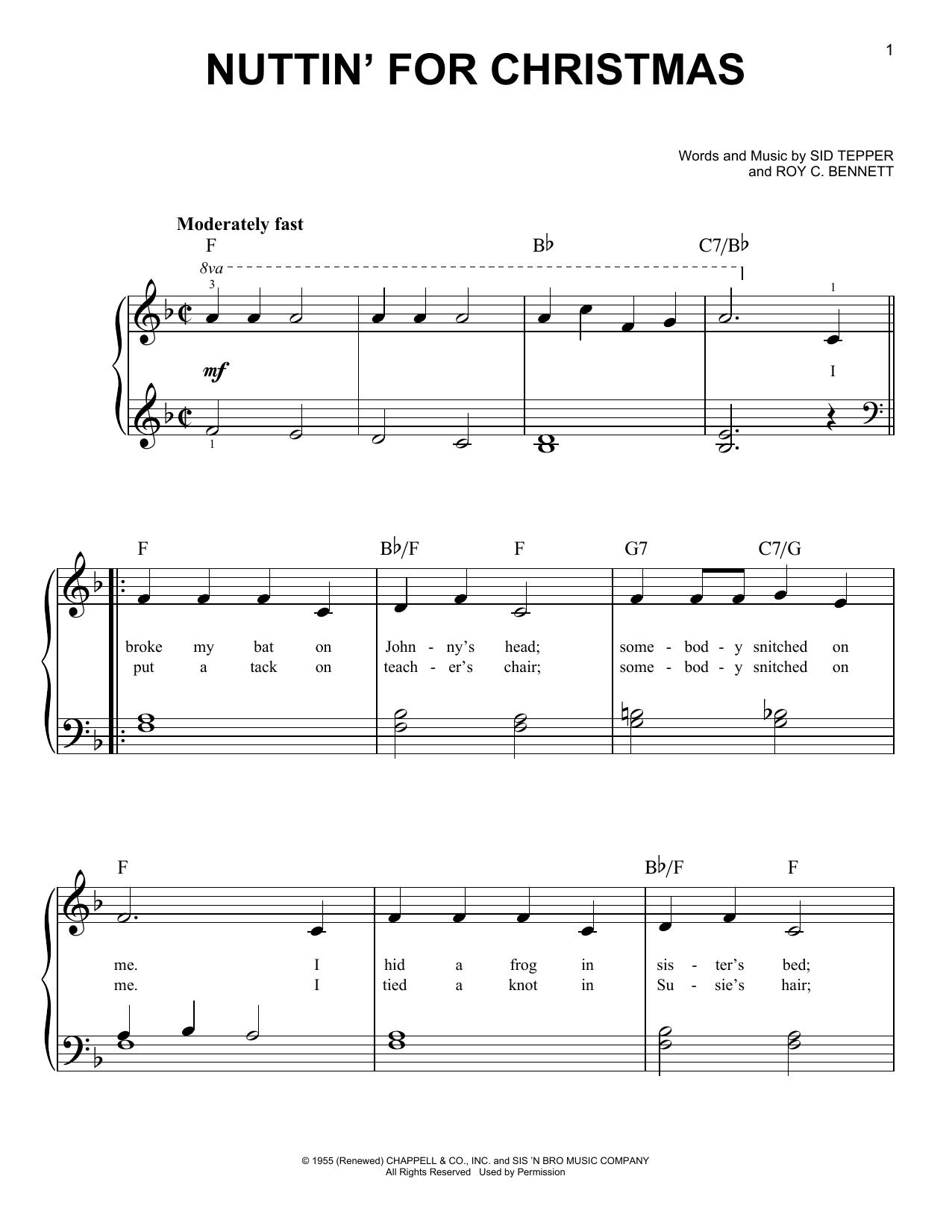 Nuttin' For Christmas (Easy Piano)