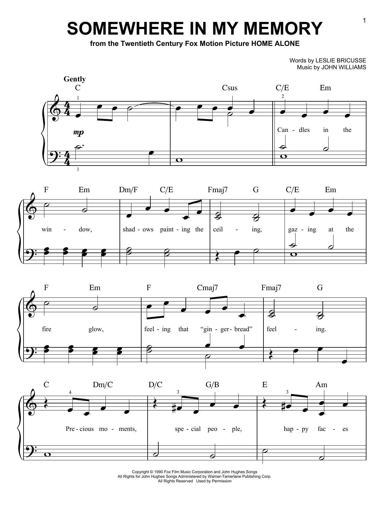 Somewhere In My Memory (Very Easy Piano)