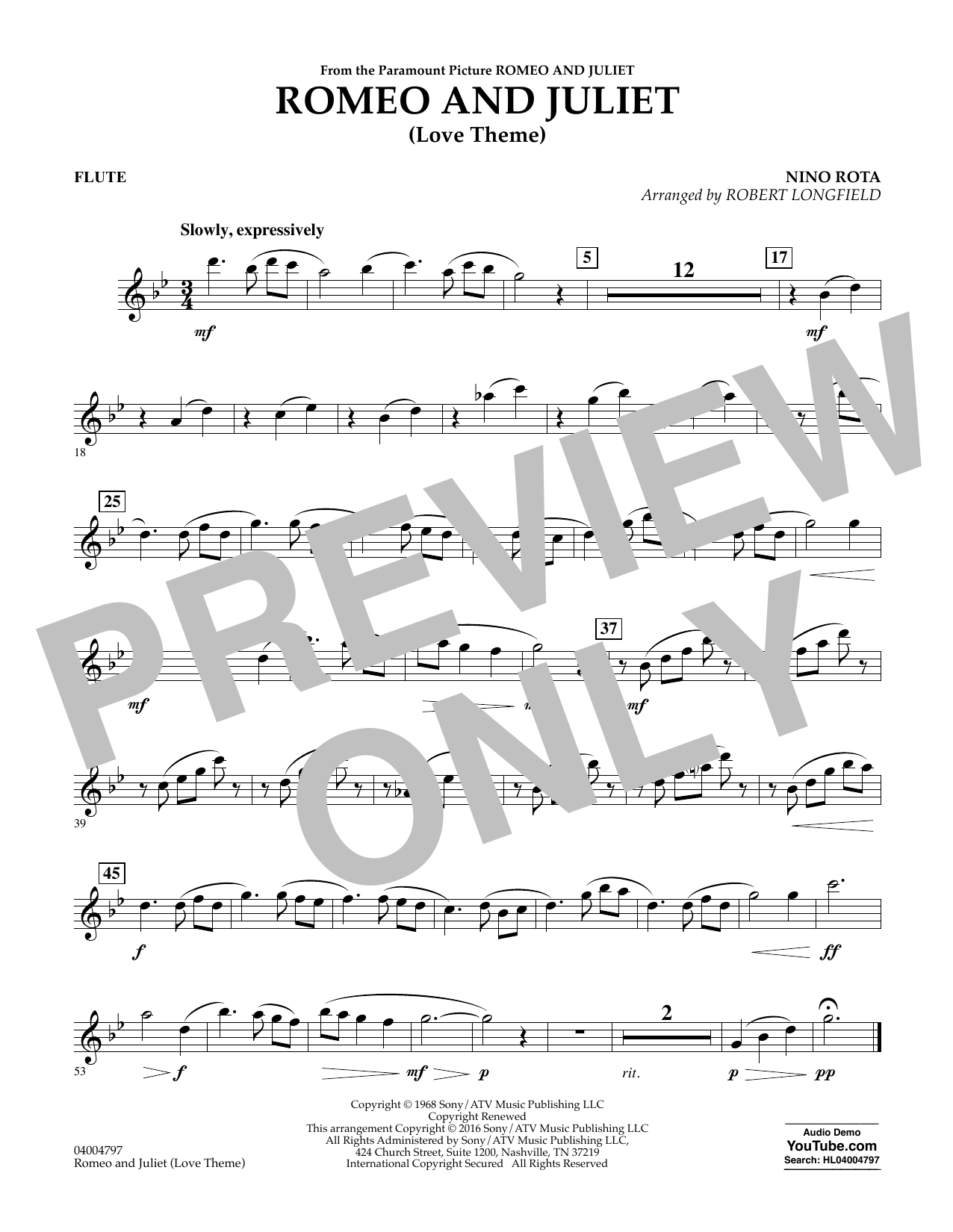 Romeo and Juliet (Love Theme) - Flute (Concert Band)