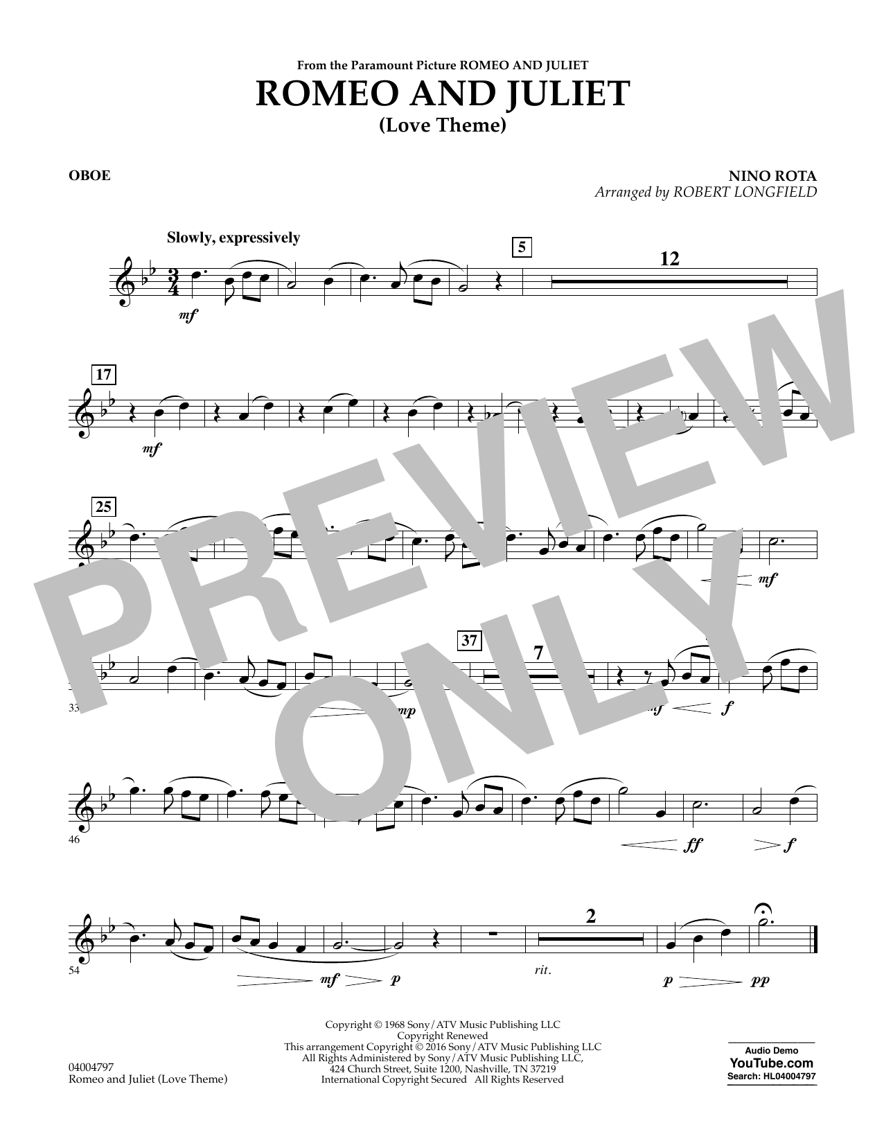 Romeo and Juliet (Love Theme) - Oboe (Concert Band)