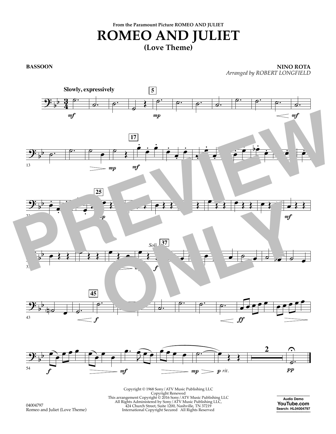 Romeo and Juliet (Love Theme) - Bassoon (Concert Band)