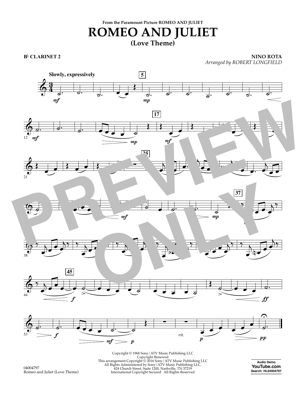 Romeo and Juliet (Love Theme) - Bb Clarinet 2 (Concert Band)