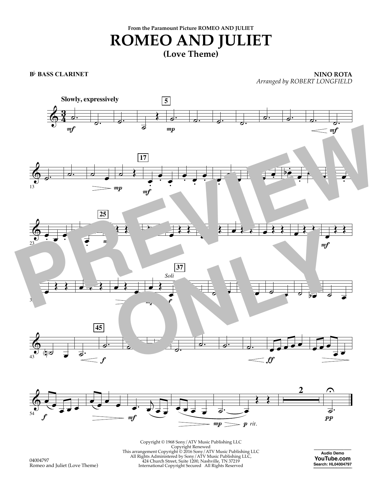 Romeo and Juliet (Love Theme) - Bb Bass Clarinet (Concert Band)