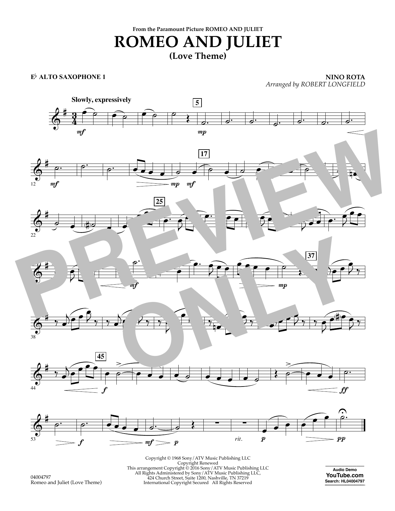 Romeo and Juliet (Love Theme) - Eb Alto Saxophone 1 (Concert Band)