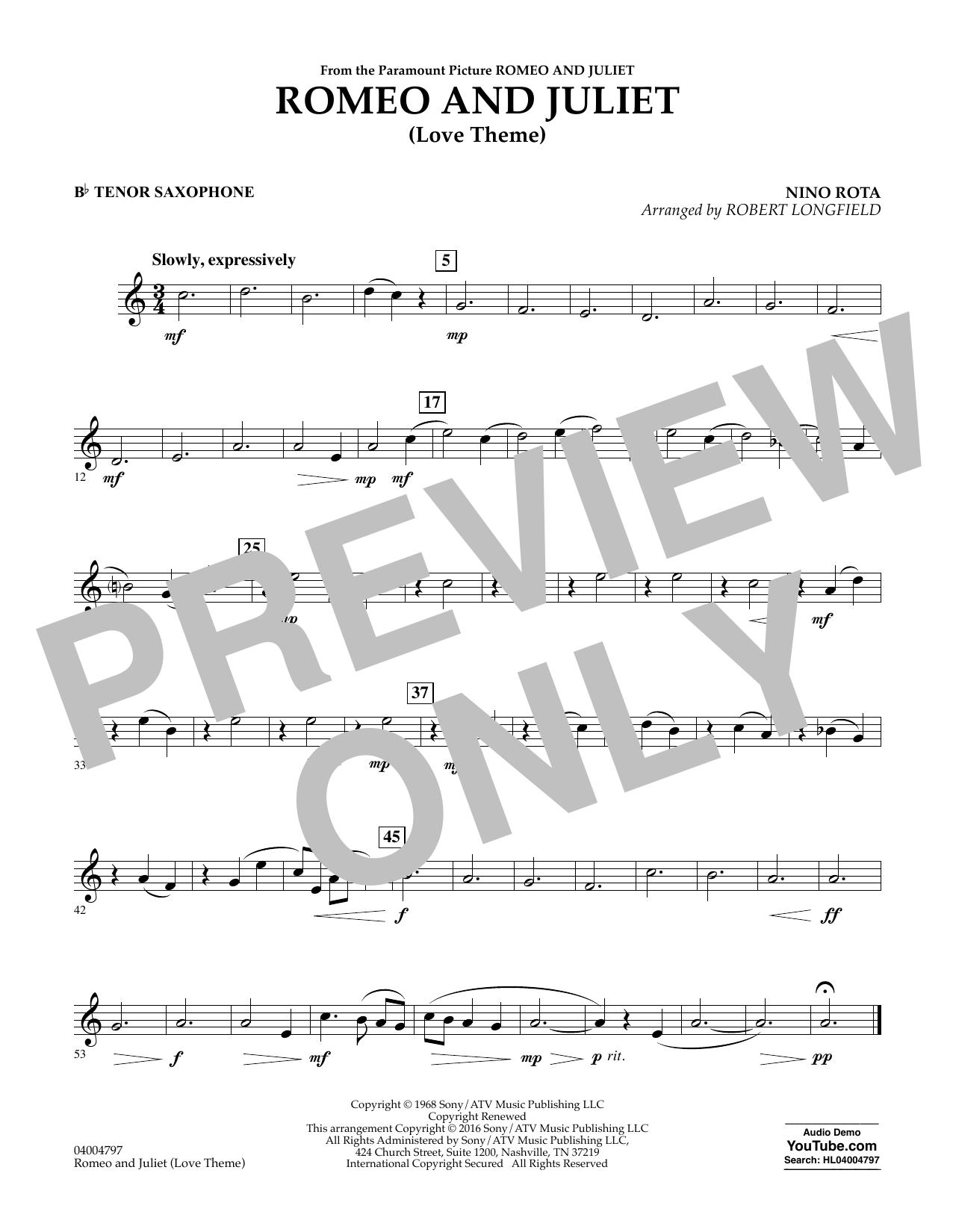 Romeo and Juliet (Love Theme) - Bb Tenor Saxophone (Concert Band)